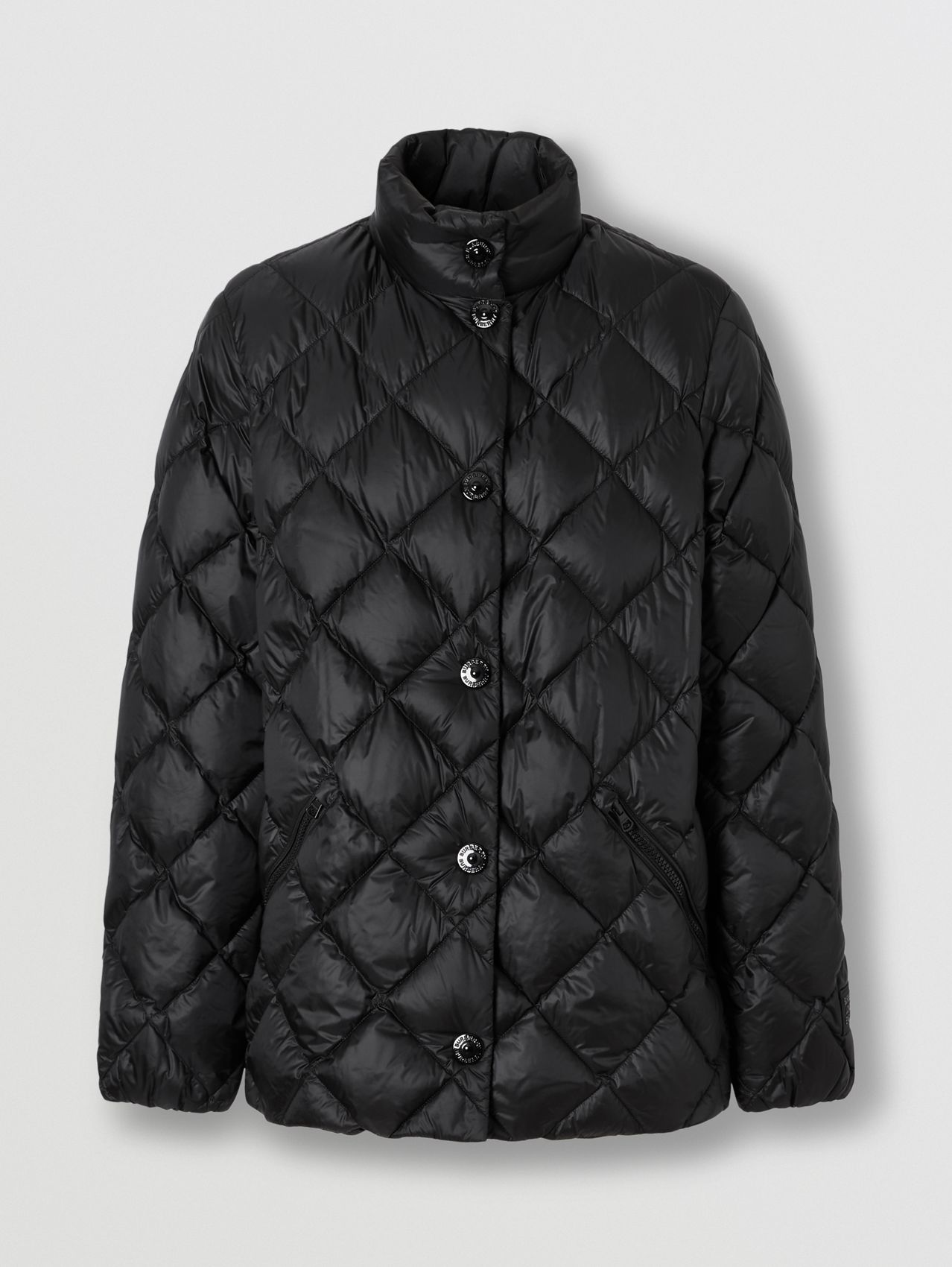 Diamond Quilted Down-filled Jacket in Black