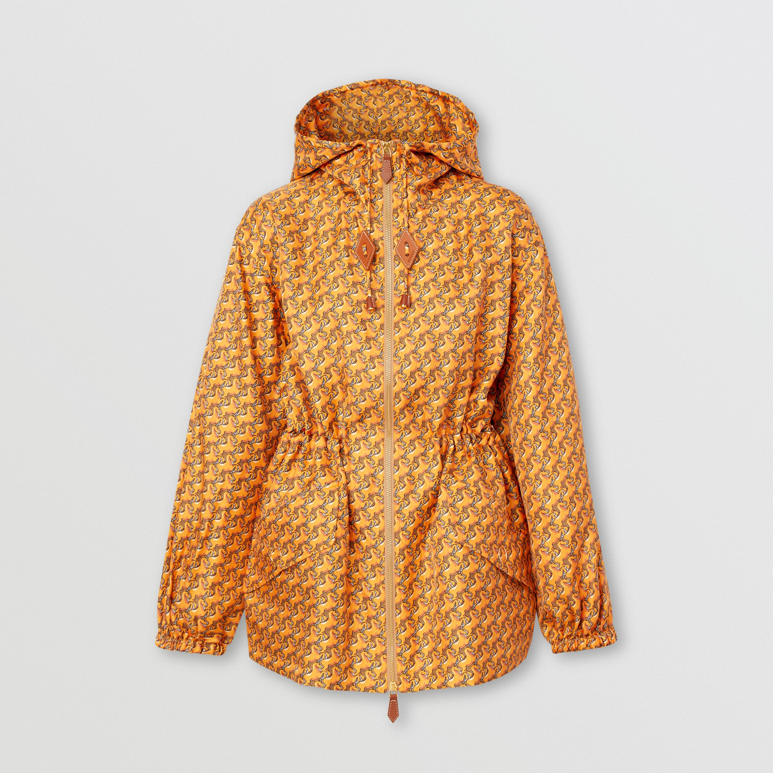 Unicorn Print Silk Twill Hooded Jacket in Bright Melon - Women | Burberry - 4