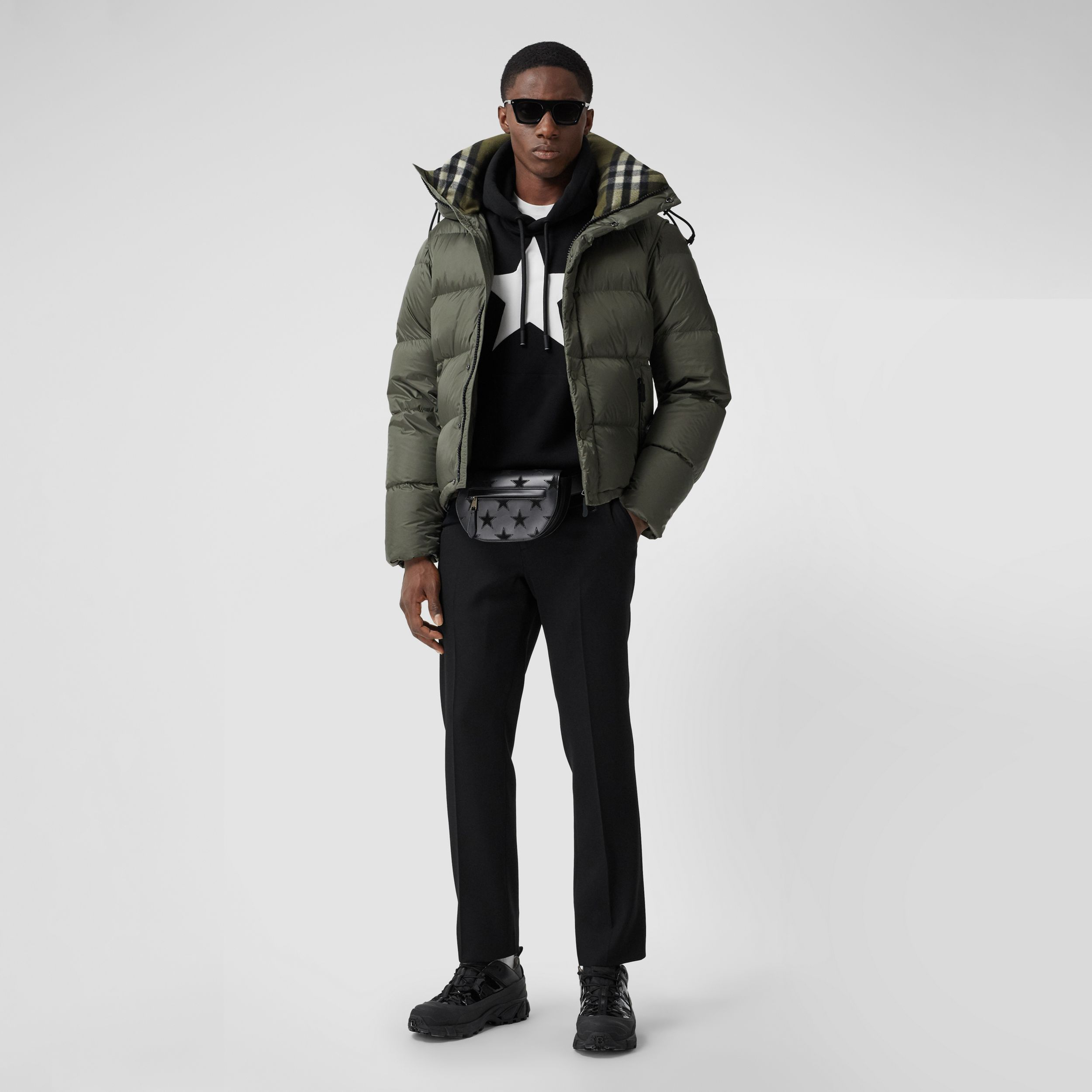 Detachable Sleeve Hooded Puffer Jacket in Olive - Men | Burberry - 1
