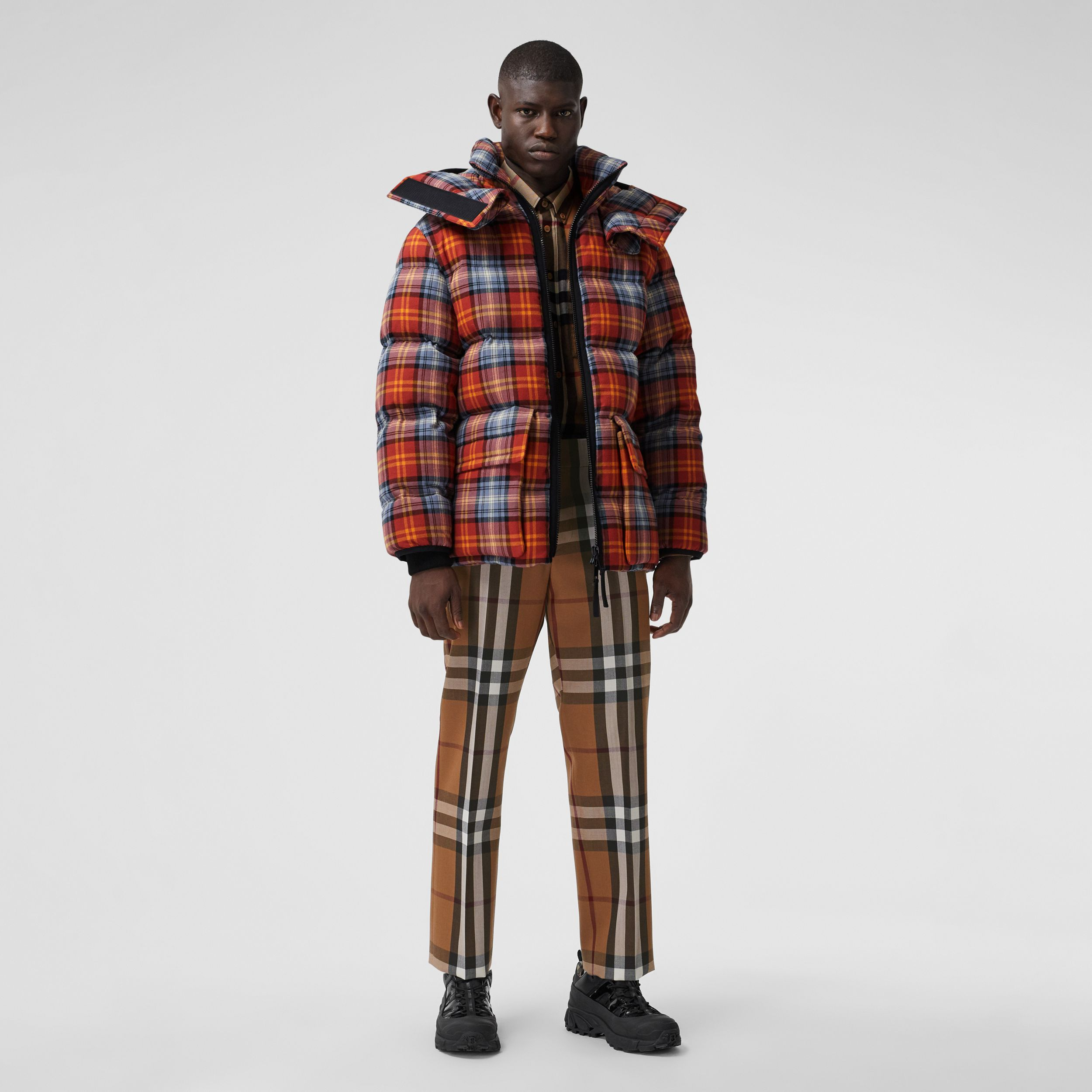 Detachable Hood Check Cotton Flannel Puffer Jacket in Multicolour | Burberry Australia - 1