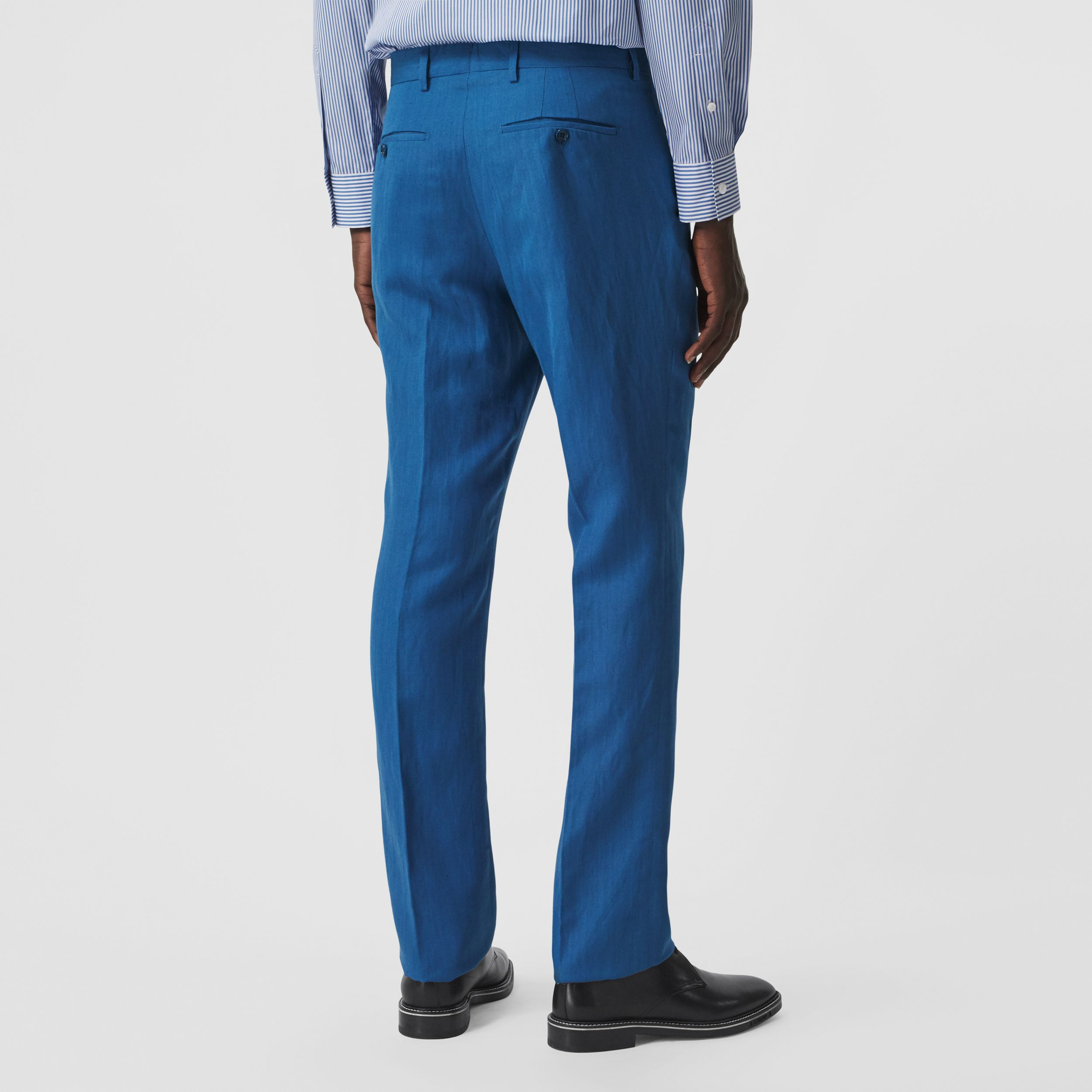 Classic Fit Linen Mohair Silk Tailored Trousers in Dark Cerulean Blue - Men | Burberry - 3