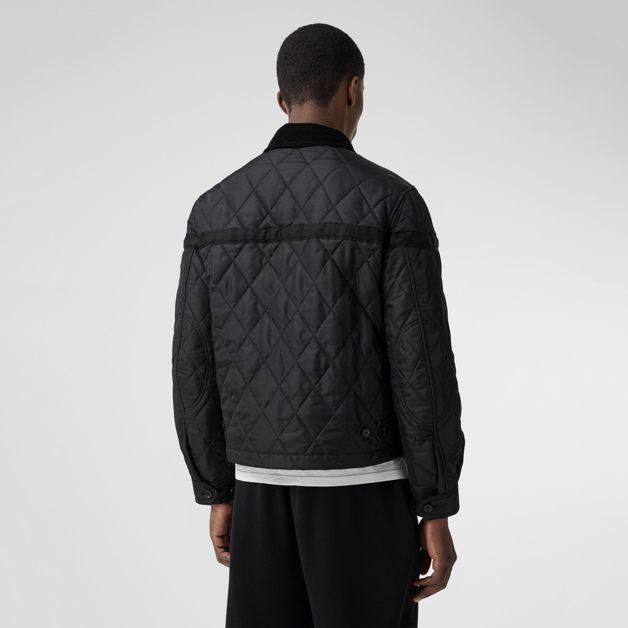 Corduroy Collar Diamond Quilted Jacket in Black - Men | Burberry - 3