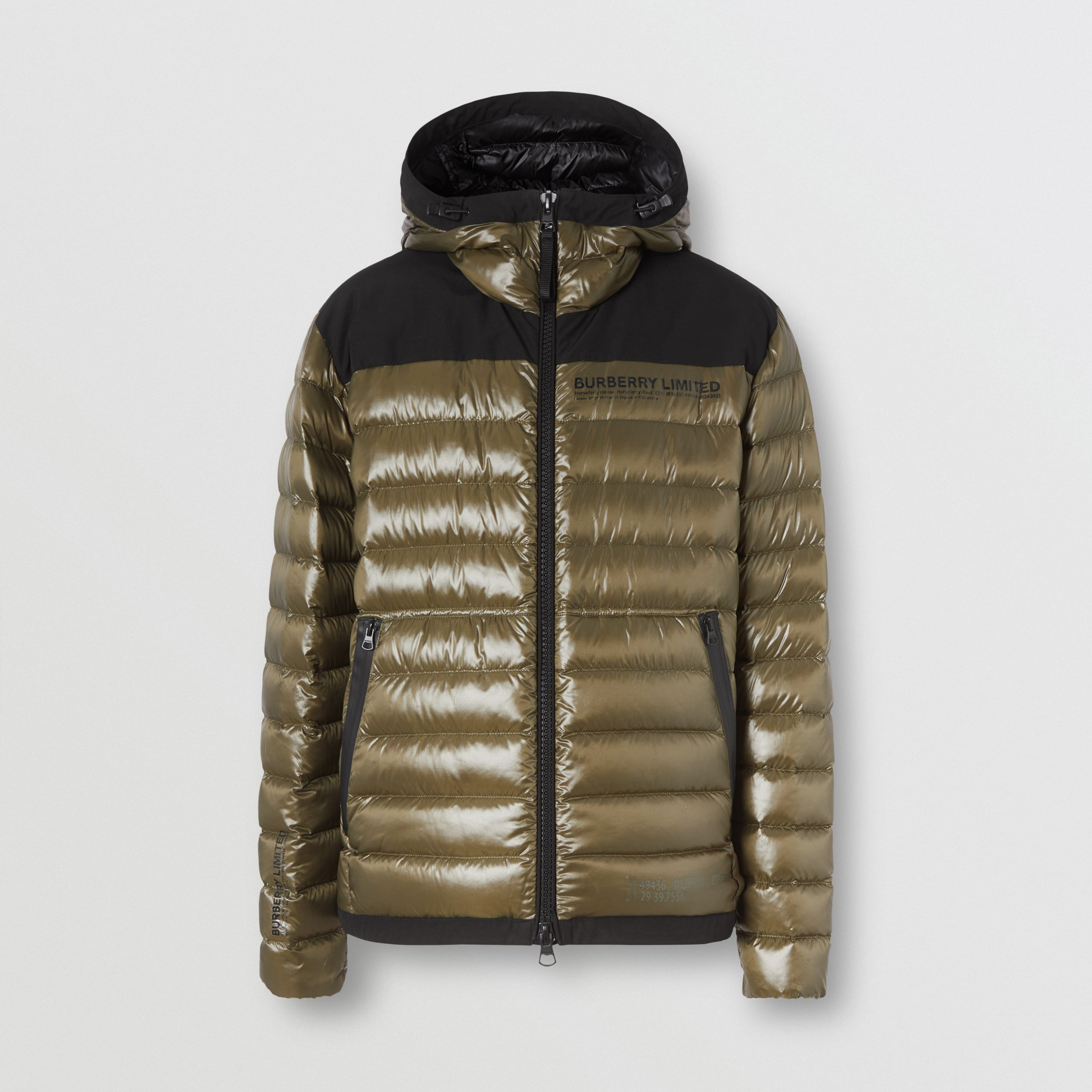 Location Print Hooded Puffer Jacket in Olive - Men | Burberry - 4