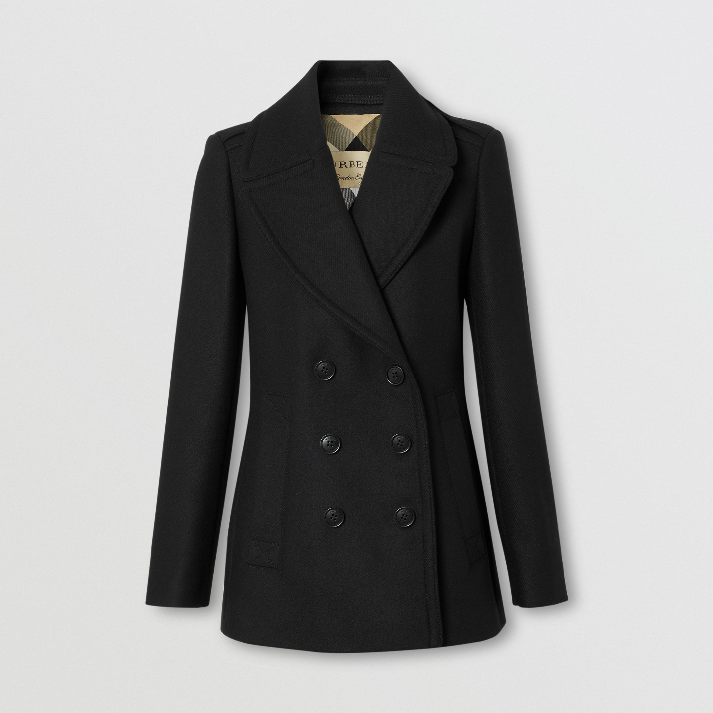 Wool Cashmere Blend Pea Coat in Black - Women | Burberry - 1