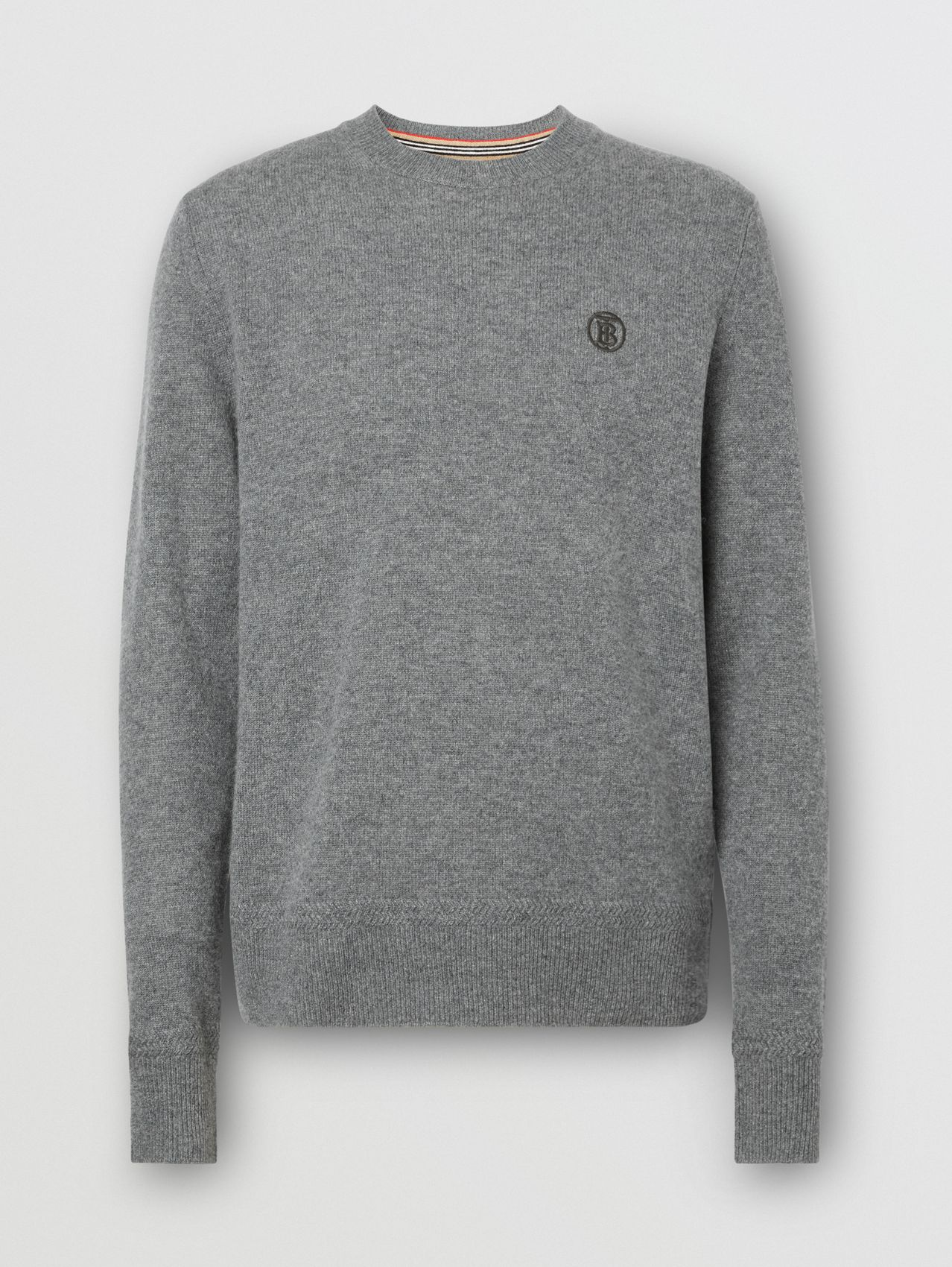 Monogram Motif Cashmere Sweater in Mid Grey Melange