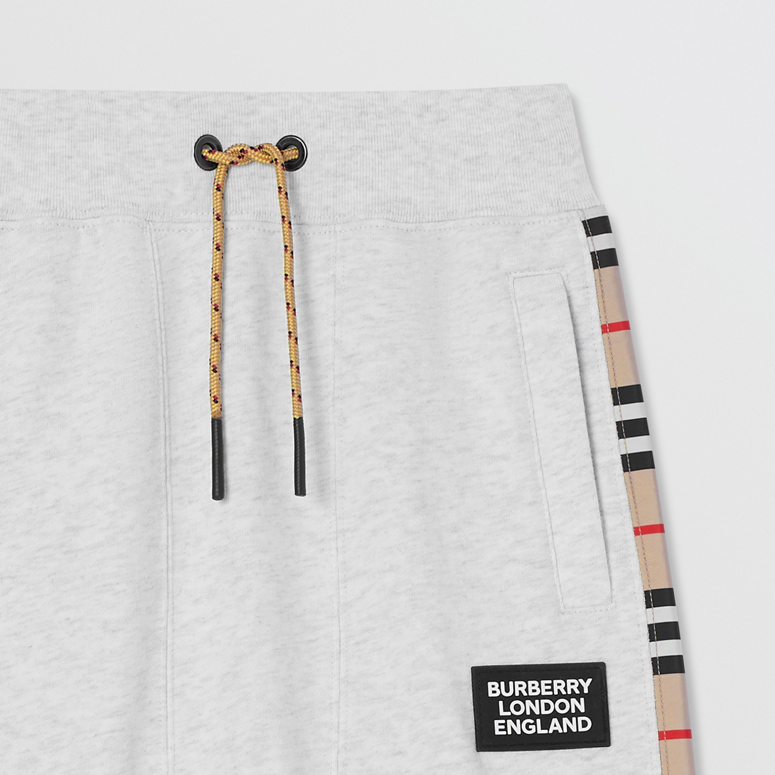 Icon Stripe Panel Cotton Jogging Pants in White Melange | Burberry - 4