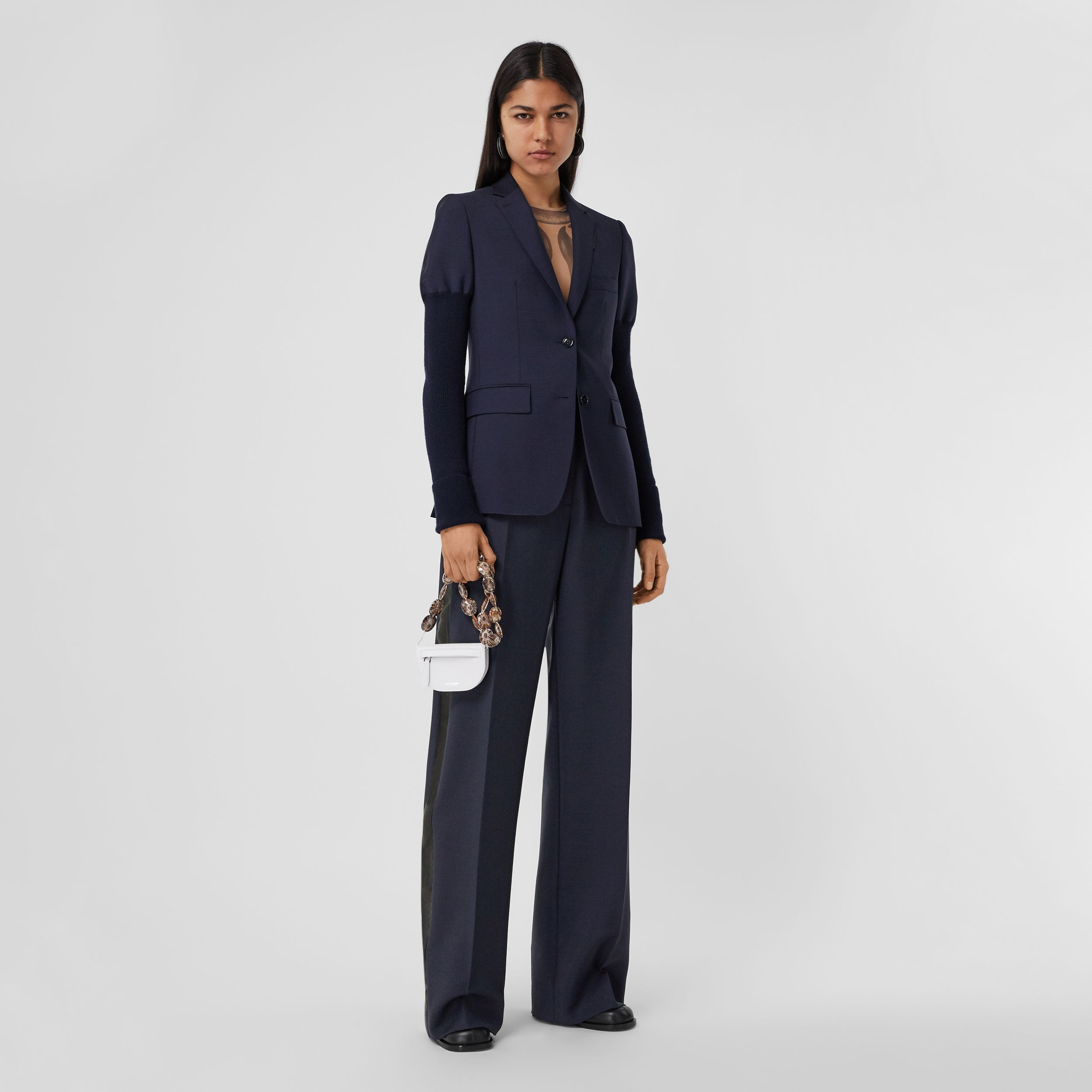 Side Stripe Mohair Wool Wide-leg Trousers in Dark Navy - Women | Burberry - 1