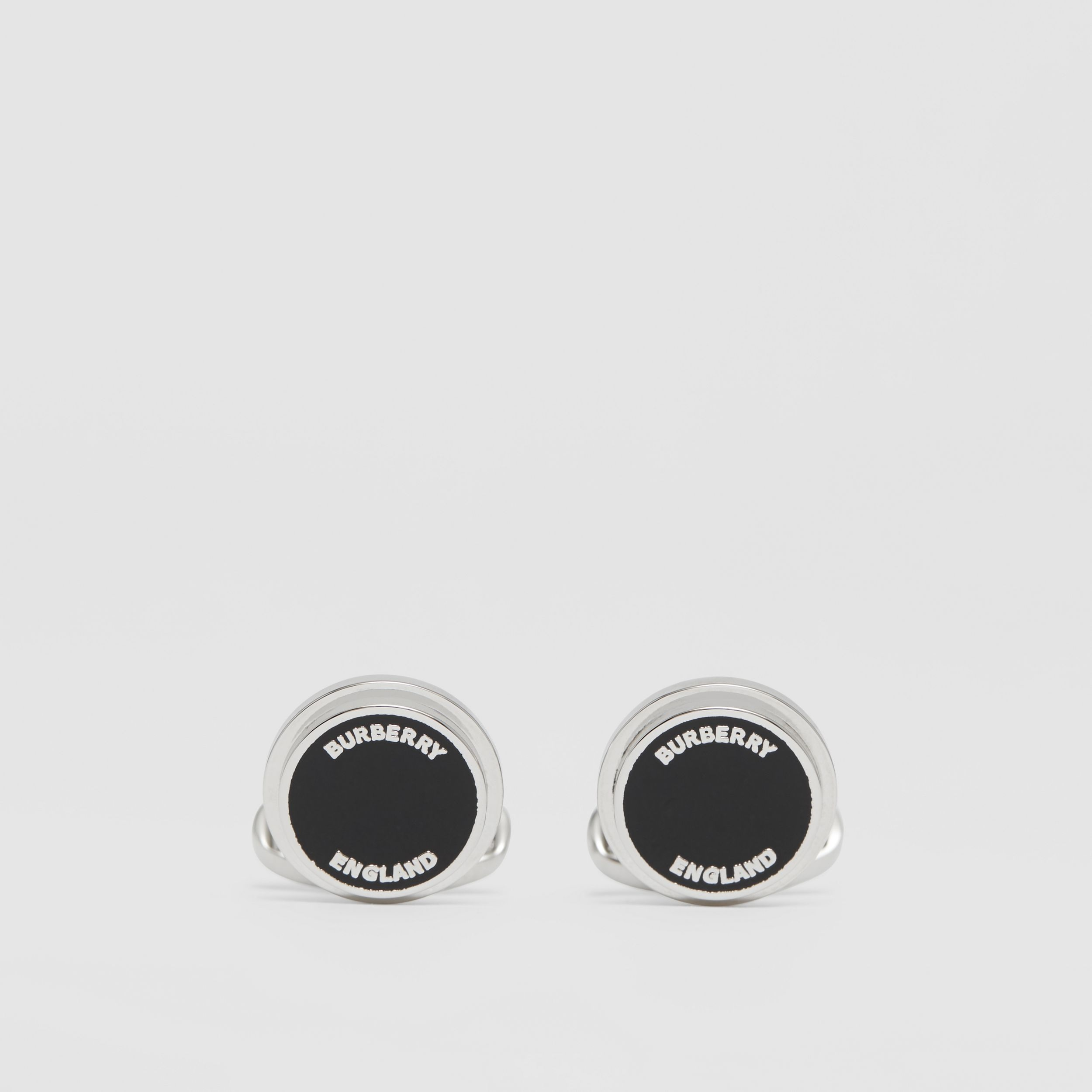 Logo Detail Palladium-plated Cufflinks in Palladium/black - Men | Burberry - 1