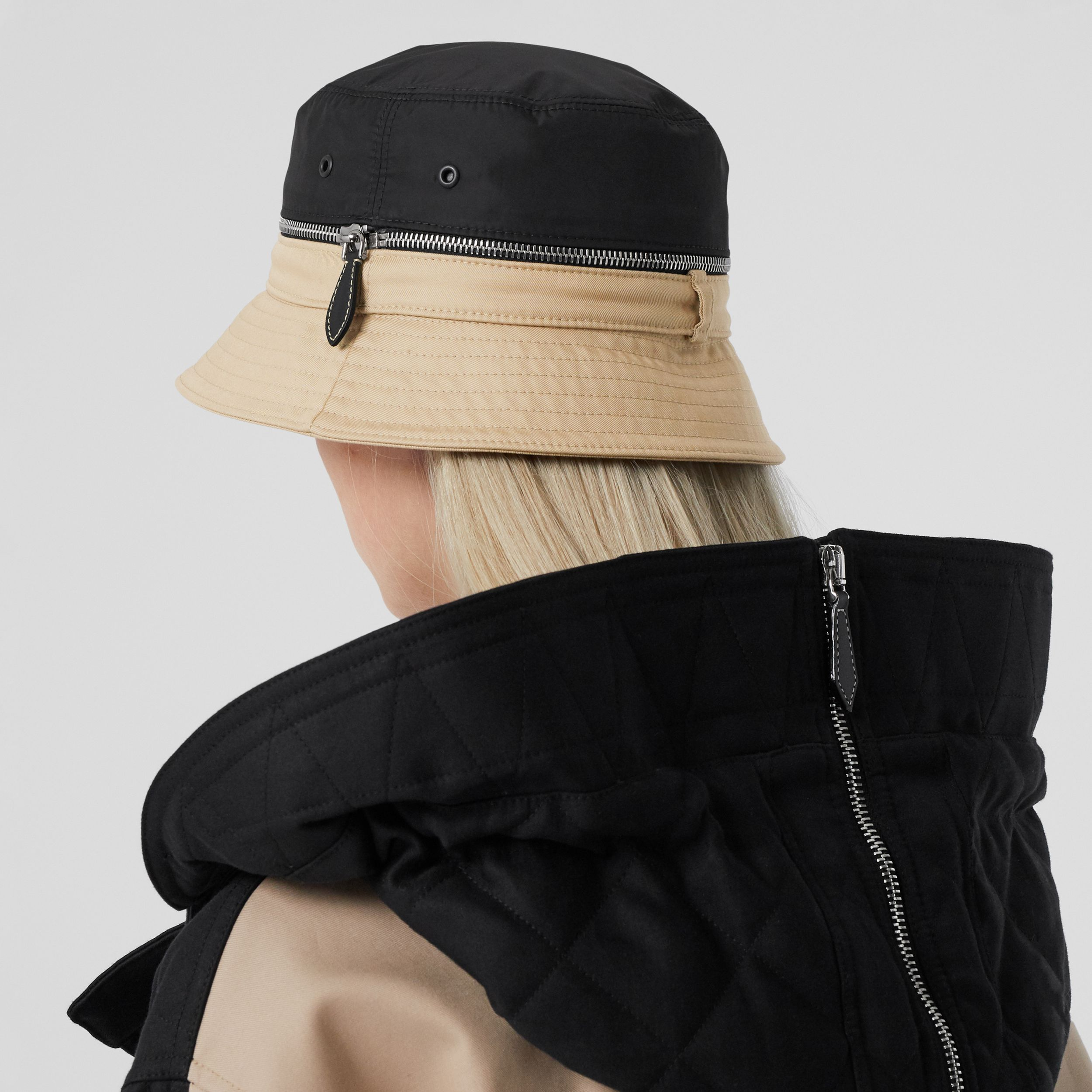 Zip Detail Nylon and Cotton Twill Bucket Hat in Soft Fawn | Burberry - 3