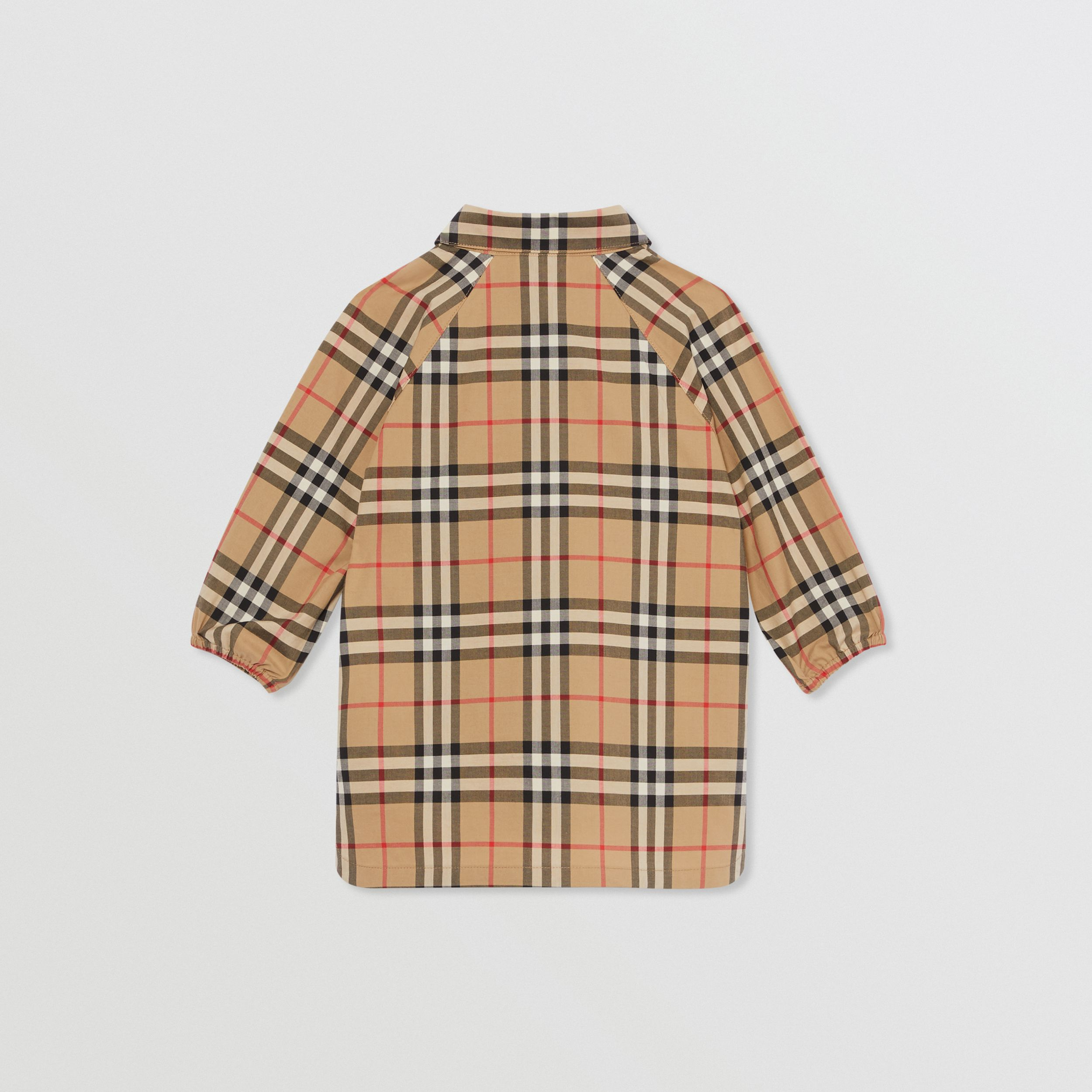 Vintage Check Cotton Shirt Dress in Archive Beige - Children | Burberry Australia - 4