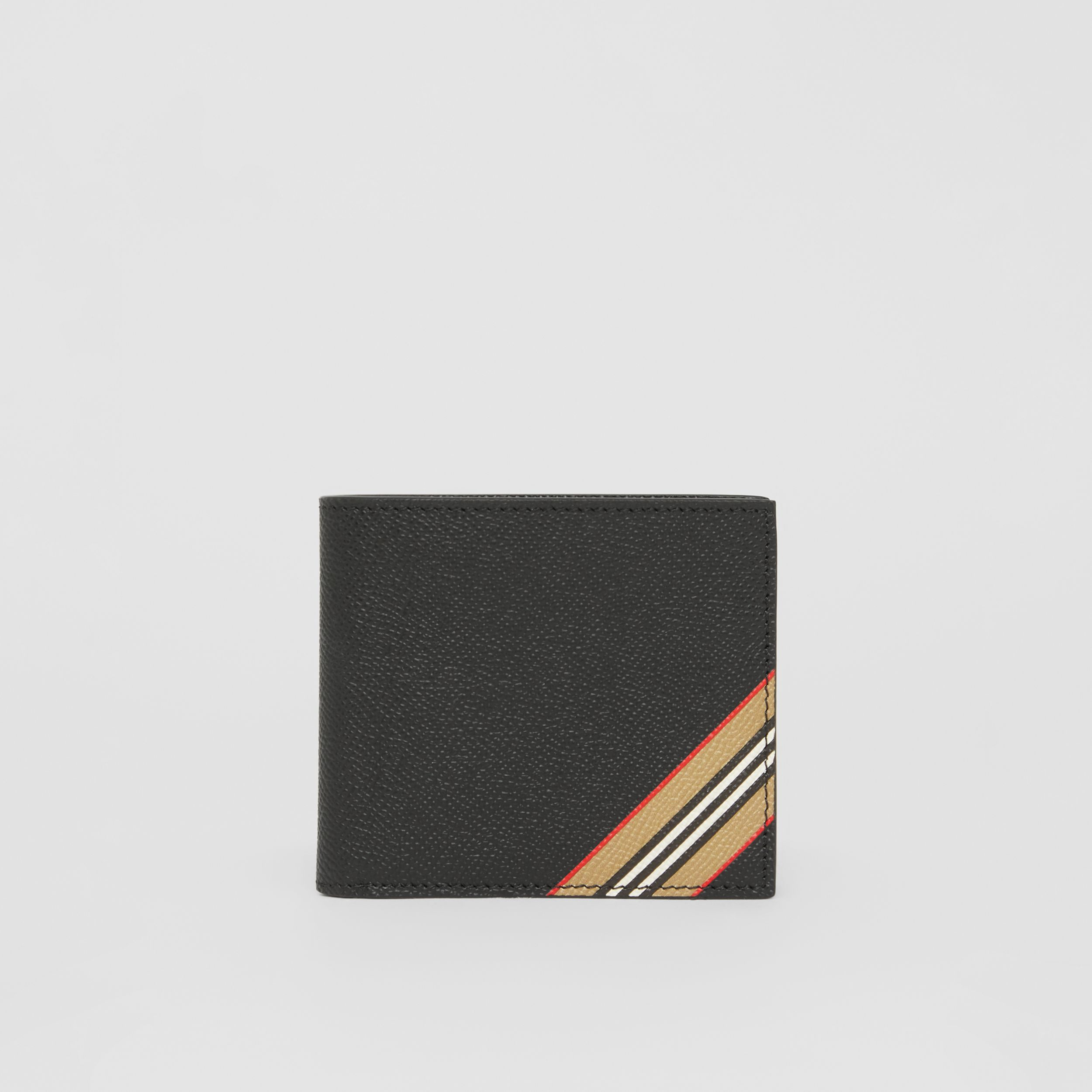 Icon Stripe Leather International Bifold Coin Wallet in Black - Men | Burberry - 1