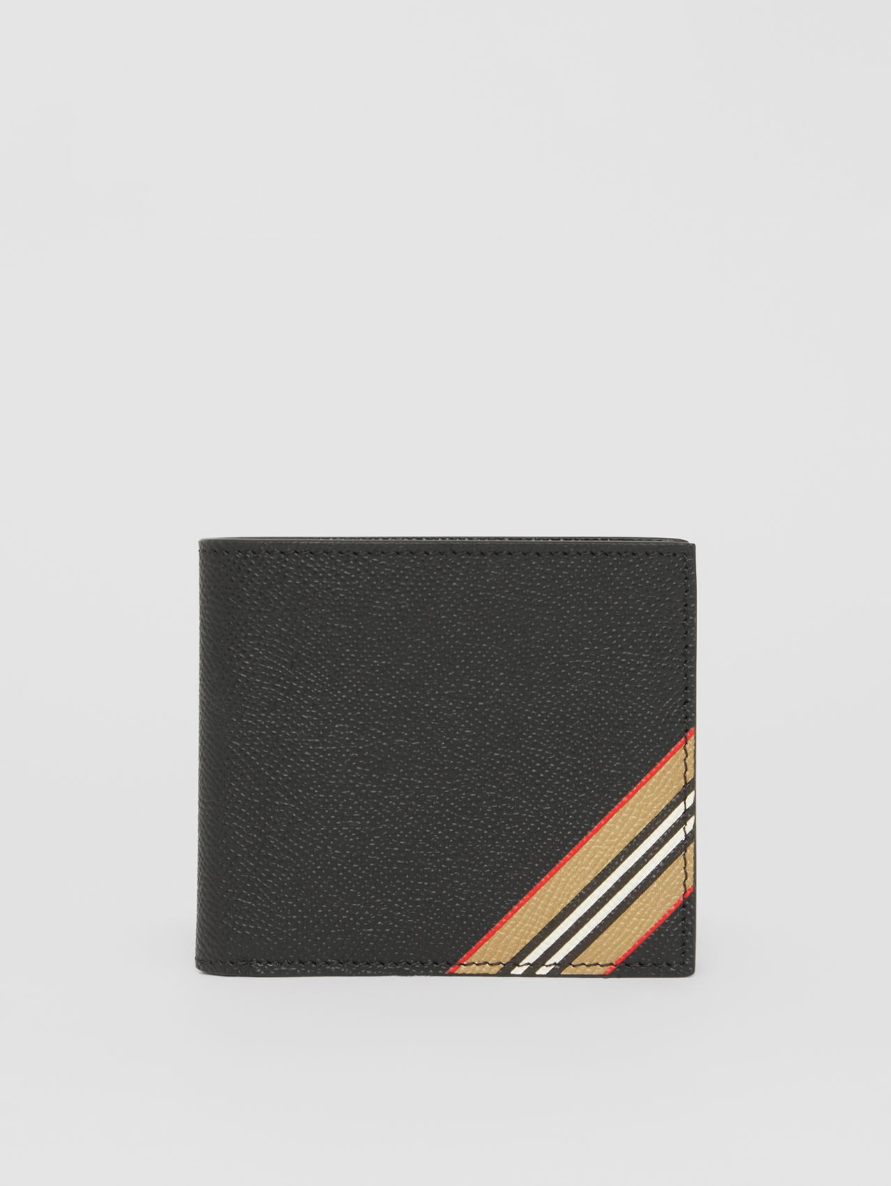 Icon Stripe Leather International Bifold Coin Wallet in Black