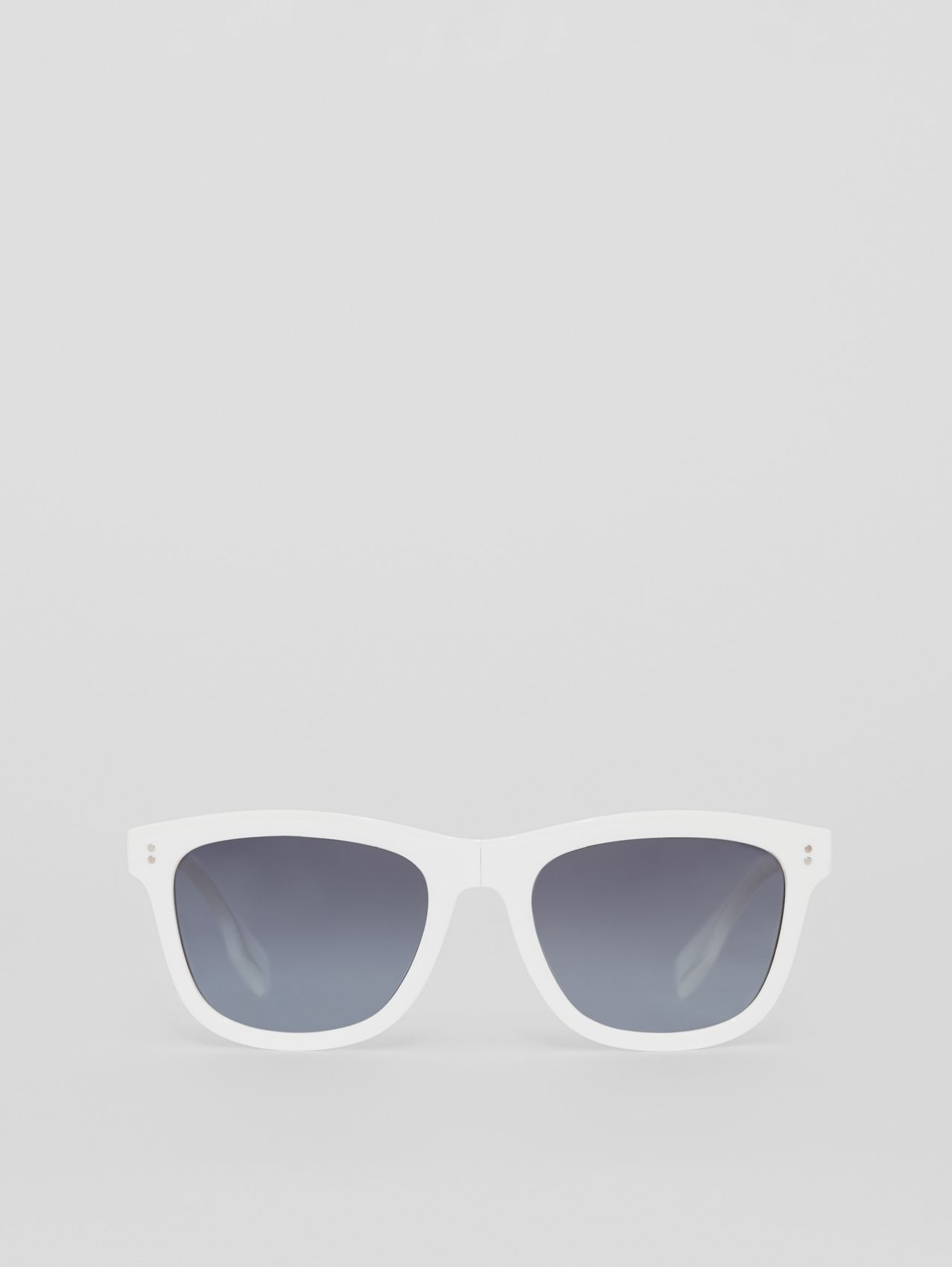 Logo Detail Square Frame Sunglasses in White