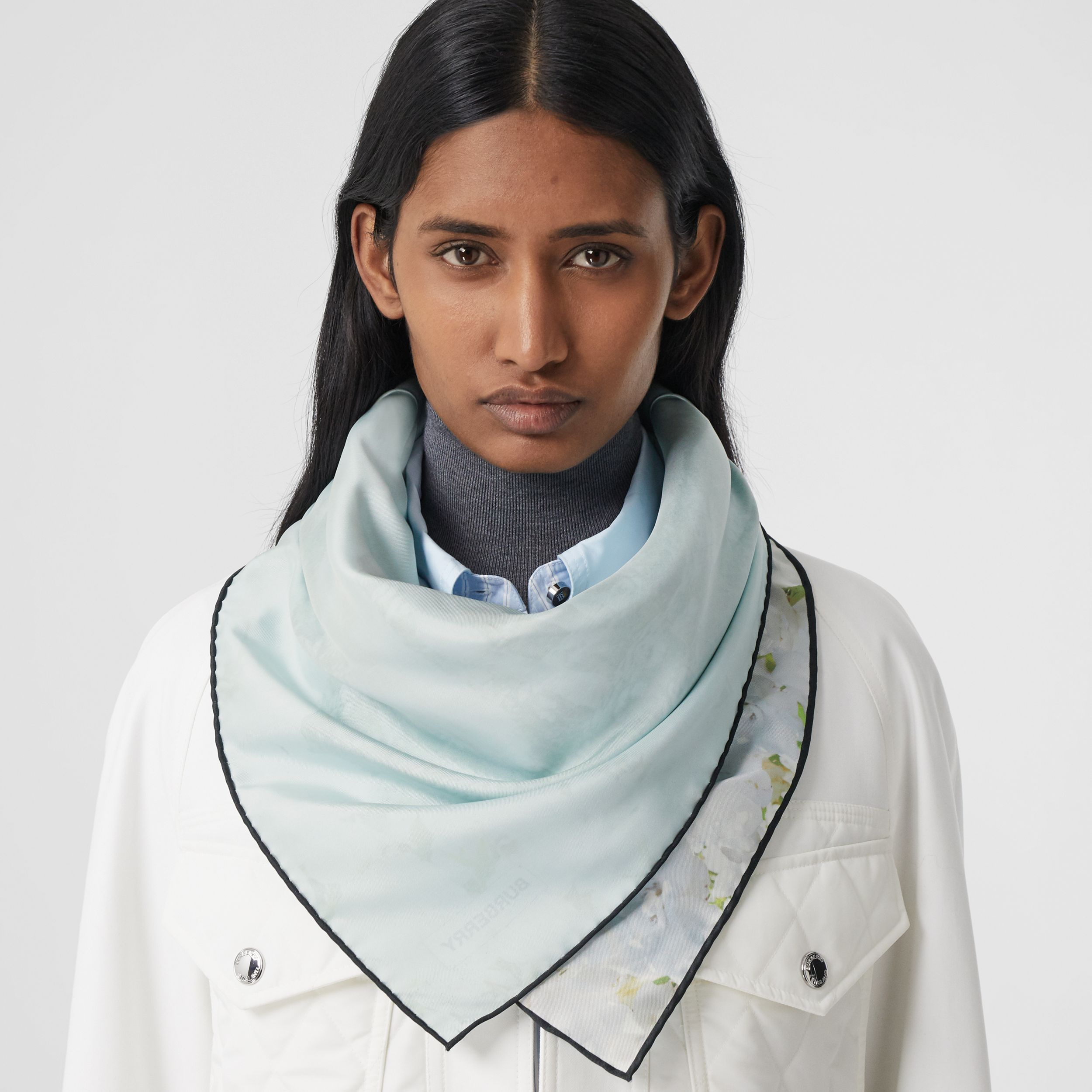 Meadow Print Silk Square Scarf in White | Burberry - 3