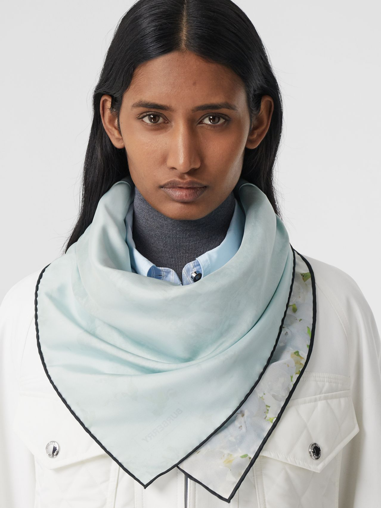 Meadow Print Silk Square Scarf in White