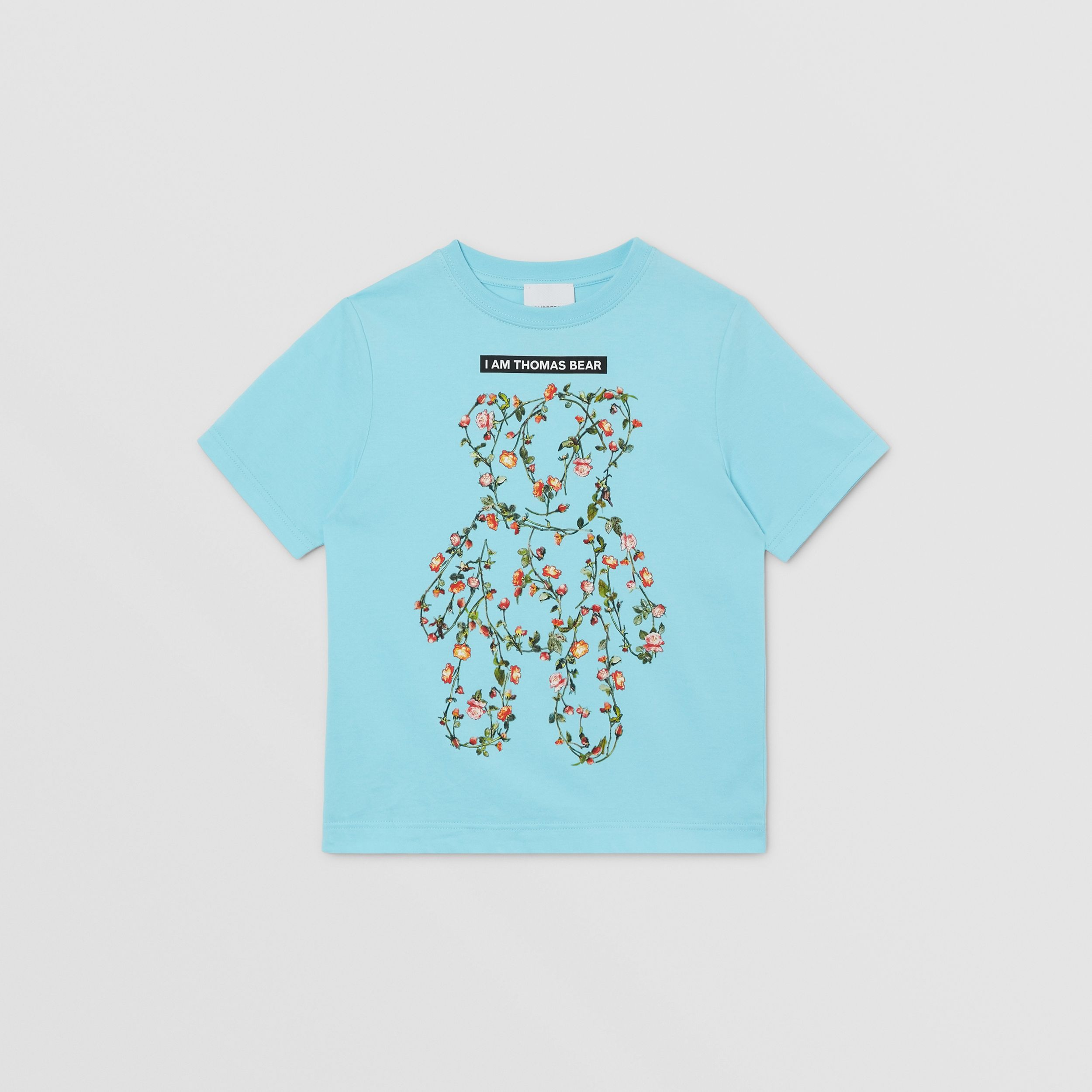Montage Print Cotton T-shirt in Pale Turquoise | Burberry - 1