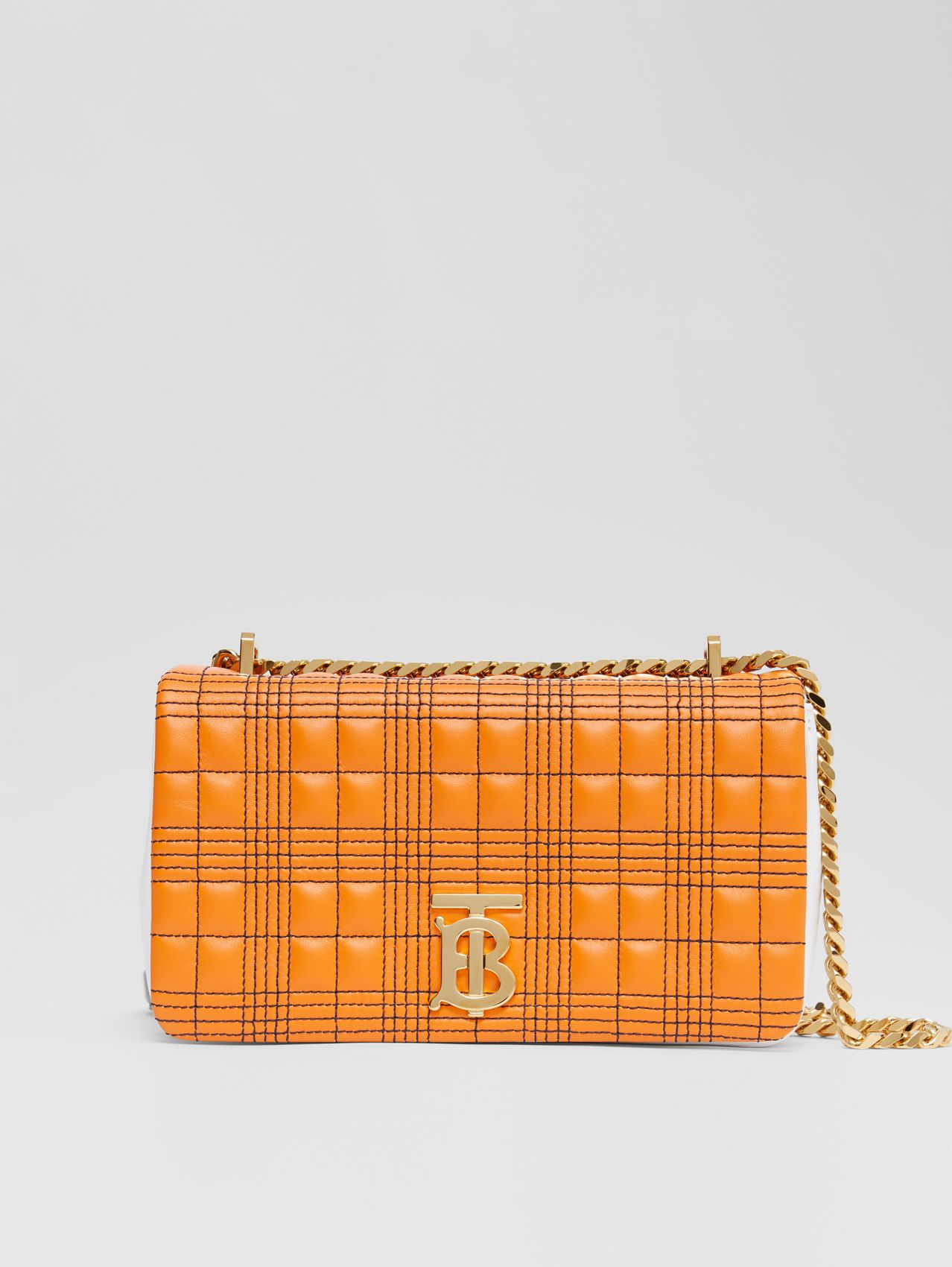 Small Quilted Tri-tone Lambskin Lola Bag in Orange/white