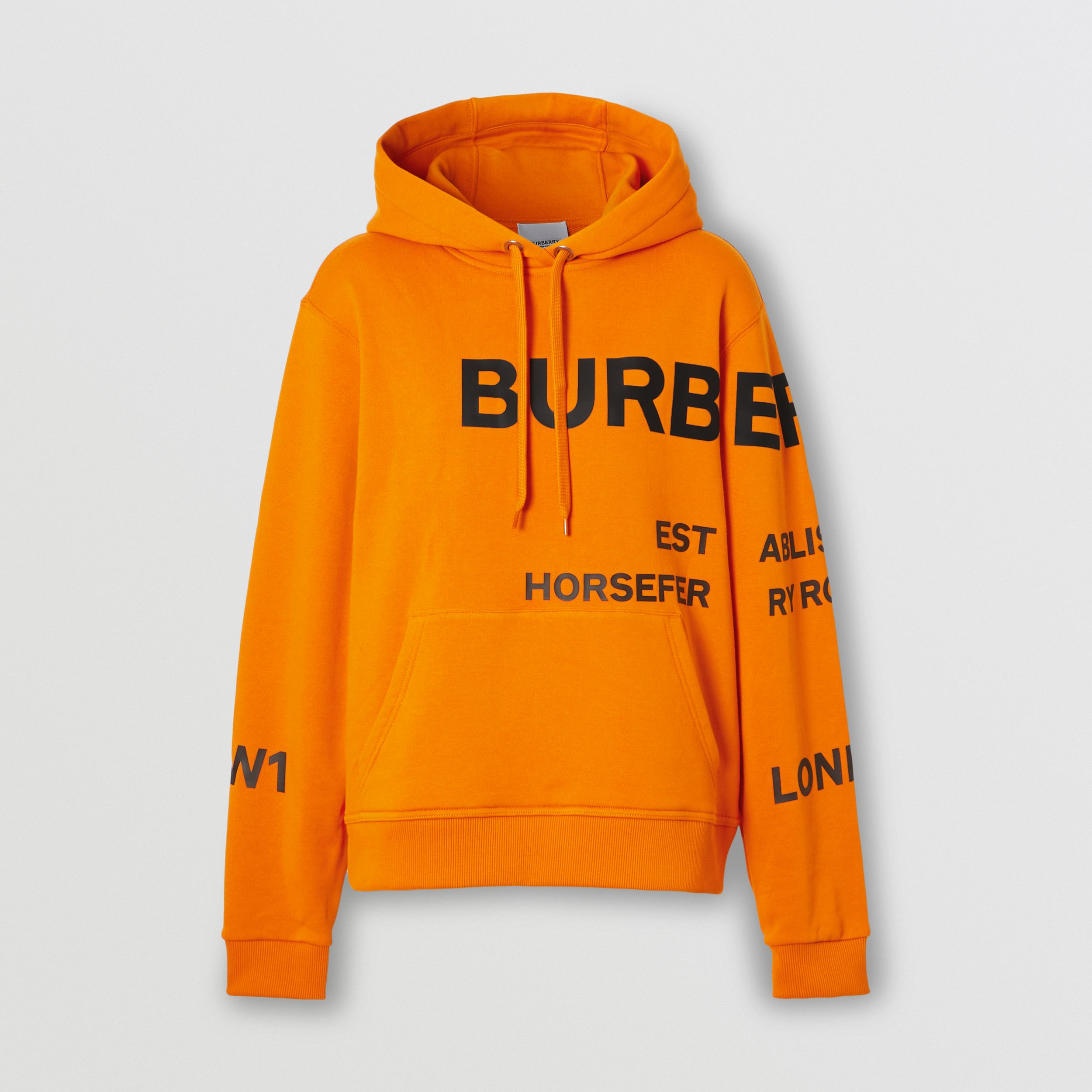 Horseferry Print Cotton Oversized Hoodie in Deep Orange - Women | Burberry - 4