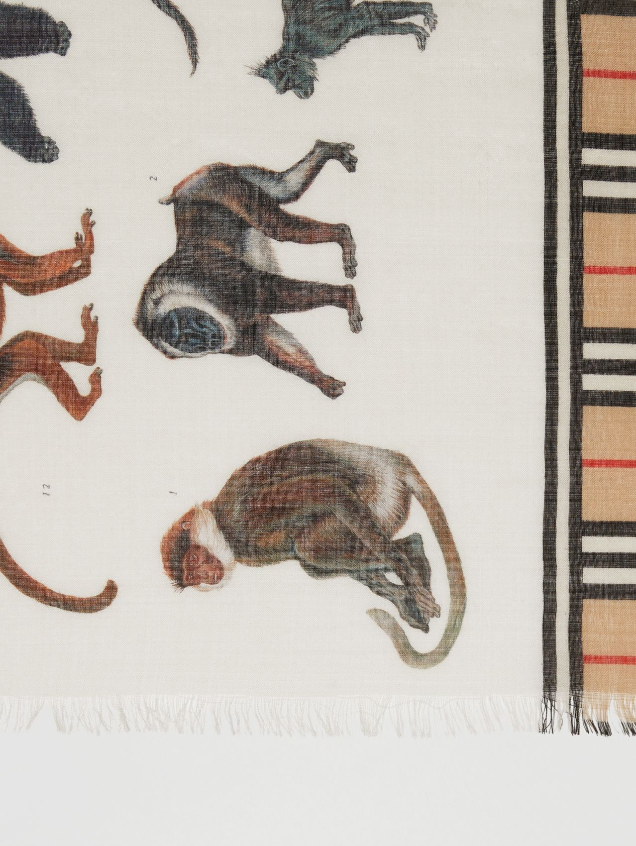 Icon Stripe and Monkey Print Wool Silk Scarf (Archive Beige)