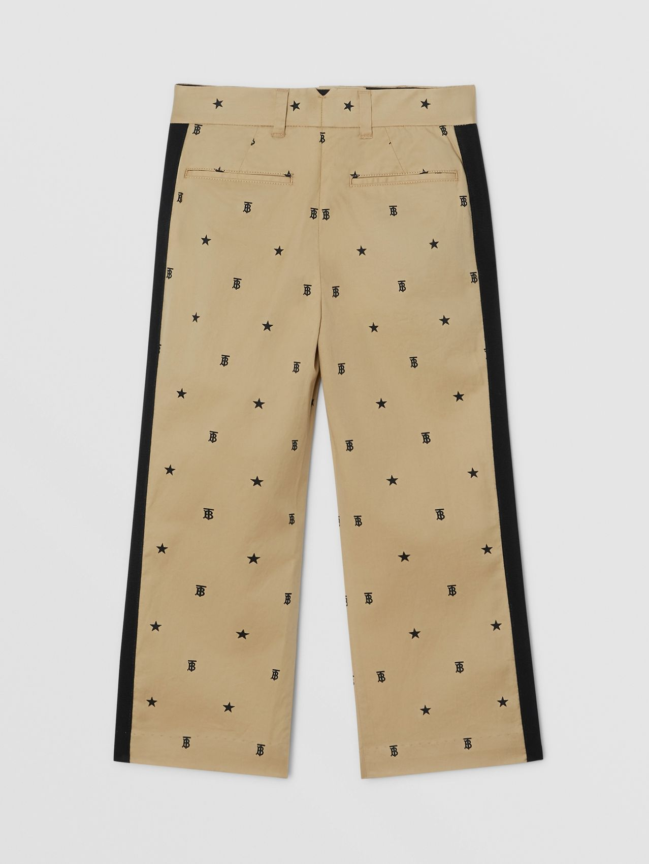 Star and Monogram Motif Stretch Cotton Trousers in Sand