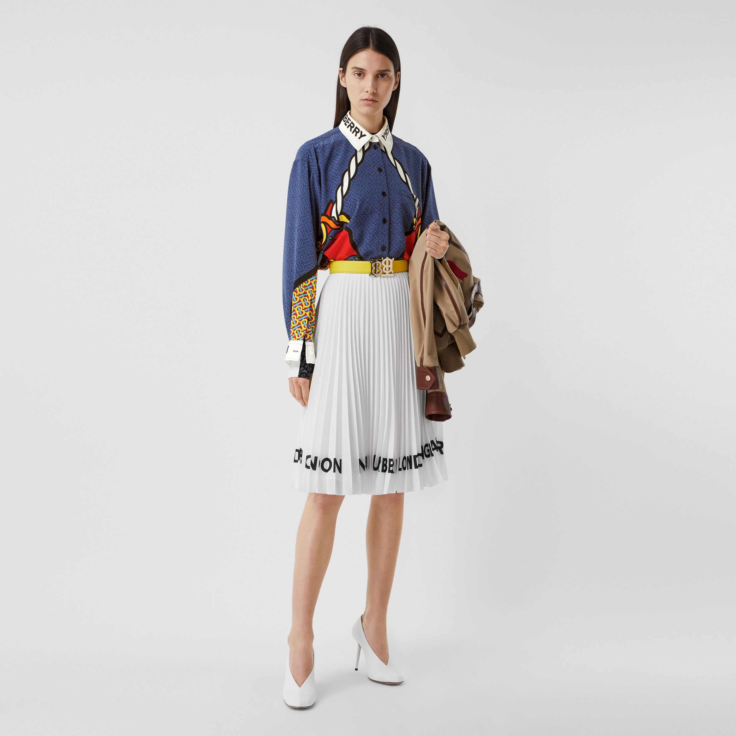 Logo Print Crepe De Chine Pleated Skirt in White - Women | Burberry - 1