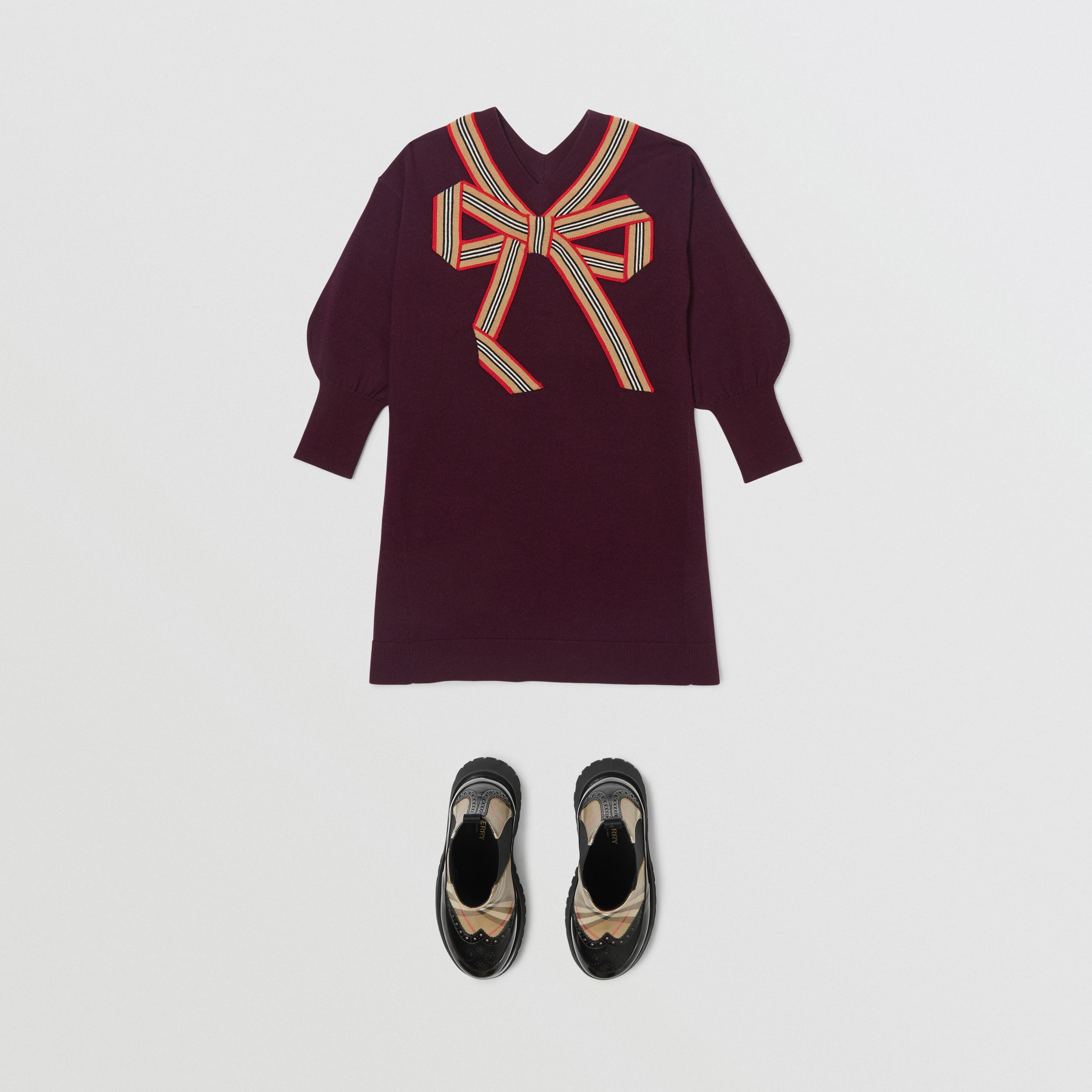 Icon Stripe Bow Merino Wool Silk Sweater Dress in Burgundy | Burberry Australia - 3