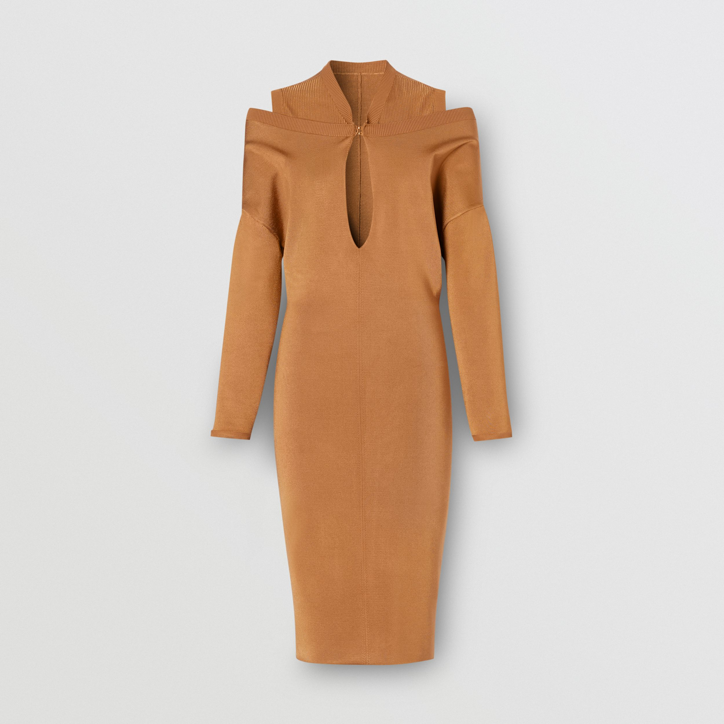 Long-sleeve Cut-out Detail Knitted Dress in Camel - Women | Burberry - 4