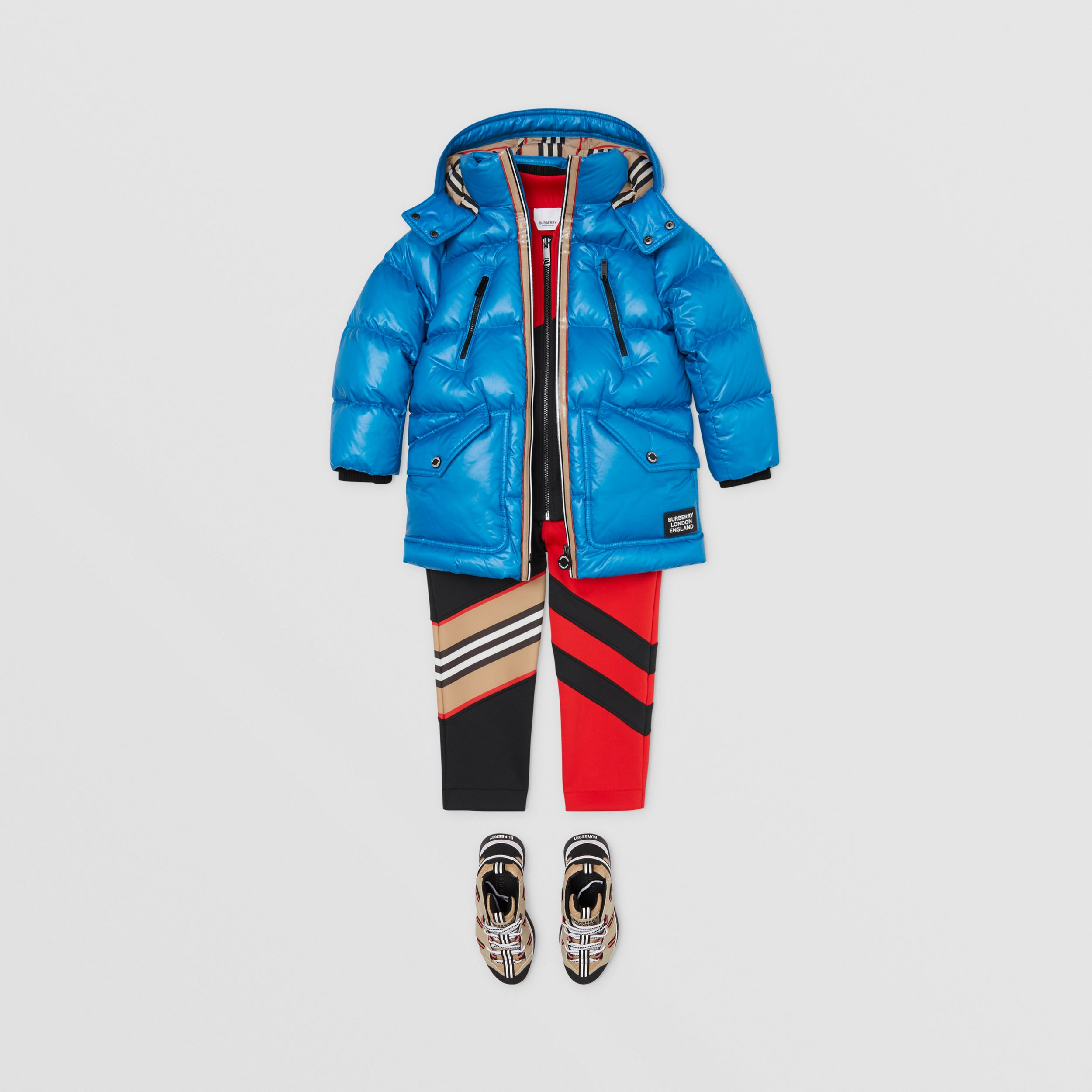 Icon Stripe Trim Hooded Puffer Coat in Cerulean Blue | Burberry - 3