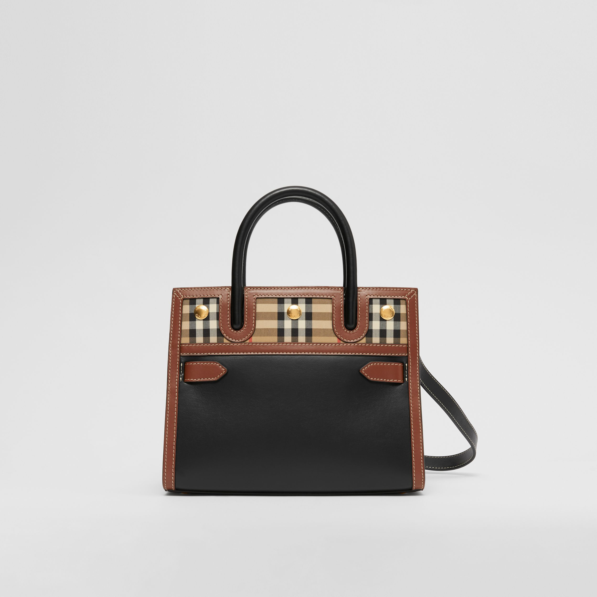 Mini Leather and Vintage Check Two-handle Title Bag in Black - Women | Burberry - 1