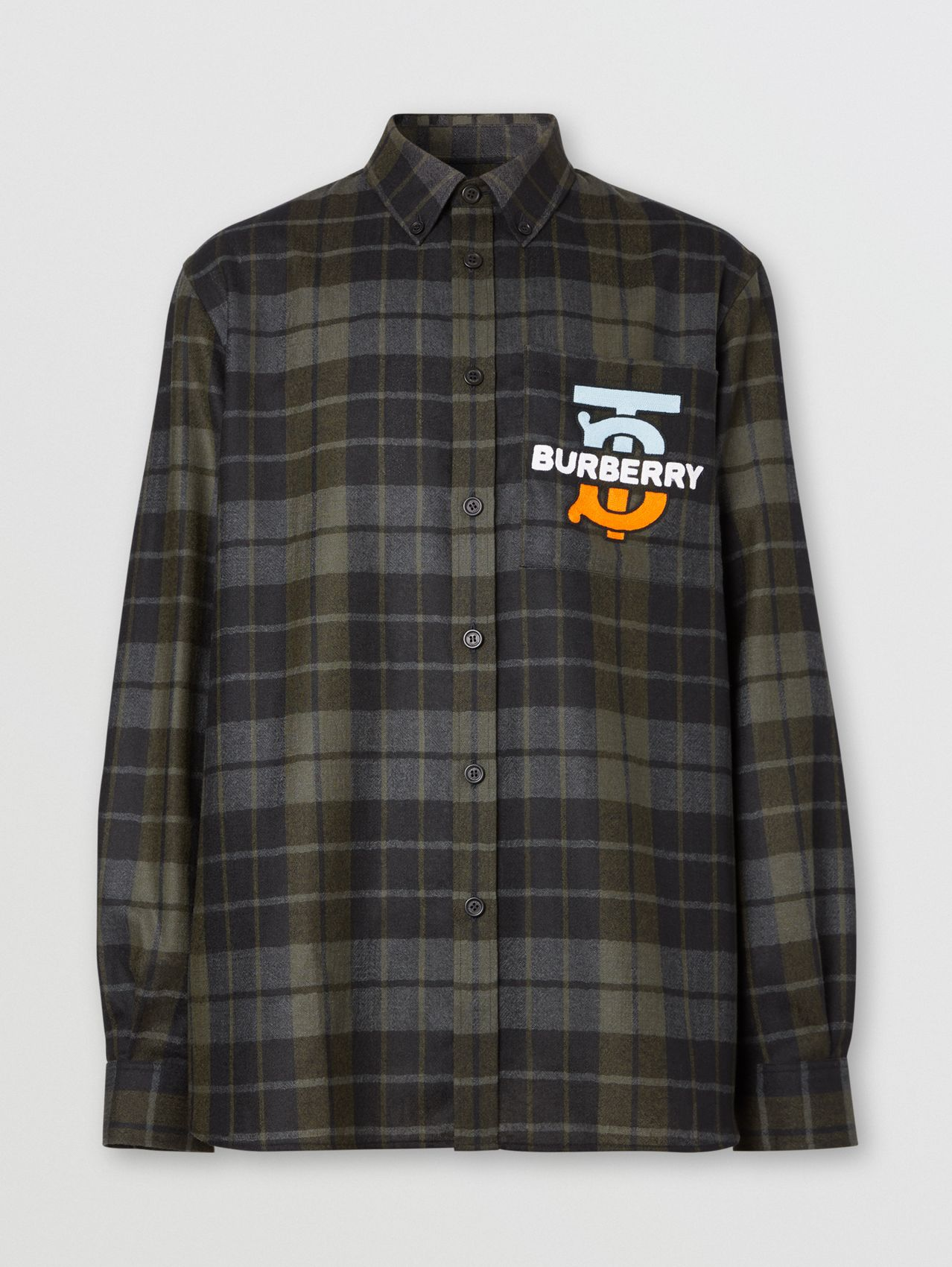Monogram Motif Check Wool Flannel Oversized Shirt in Black