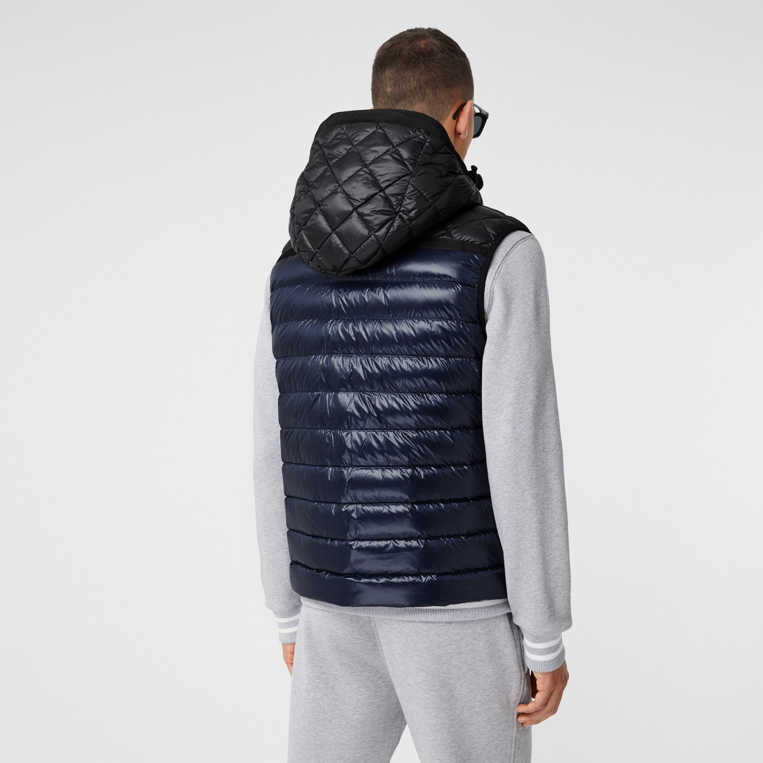 Diamond Quilted Panel Hooded Puffer Gilet in Midnight - Men | Burberry - 3