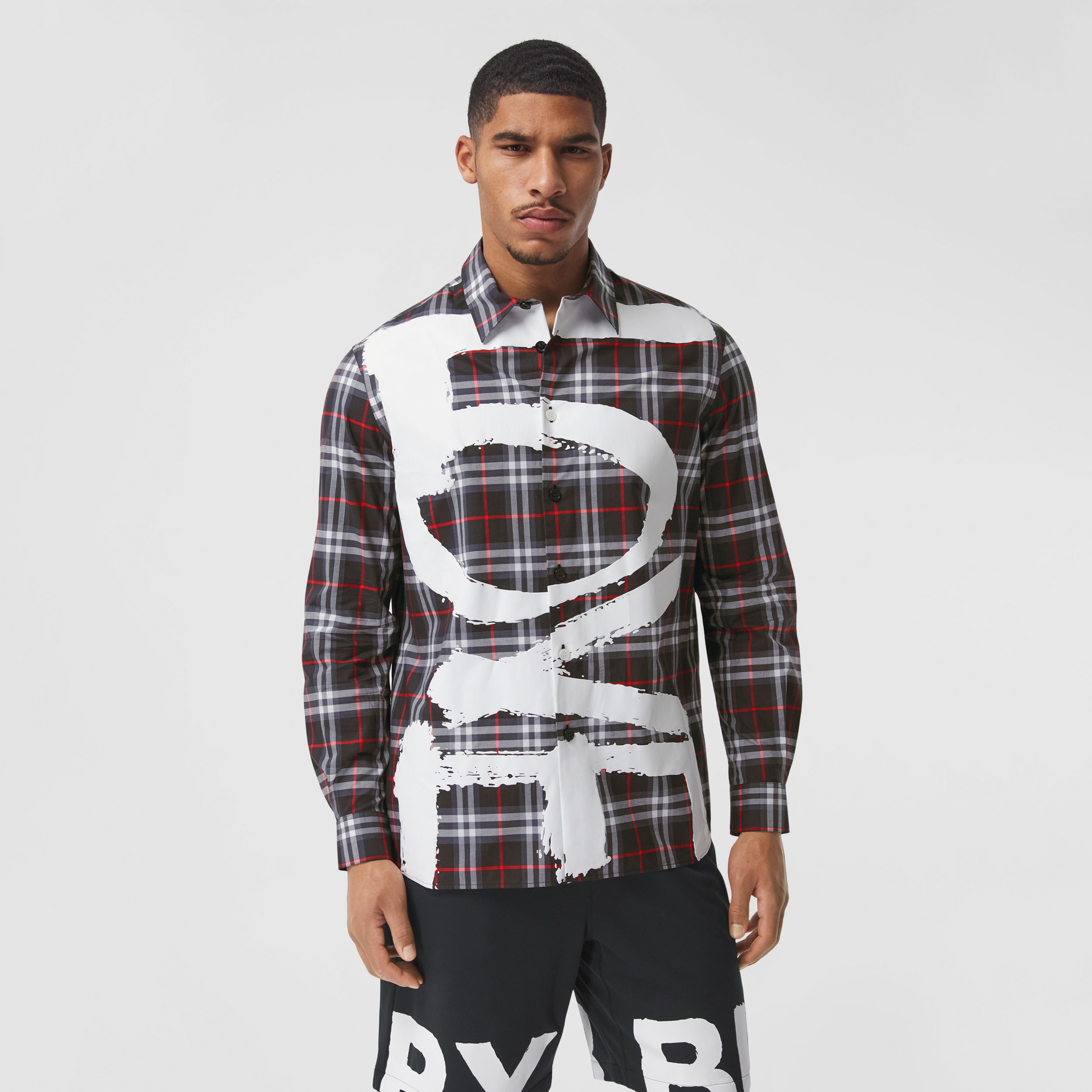 Love Print Vintage Check Cotton Shirt in Black - Men | Burberry - 1