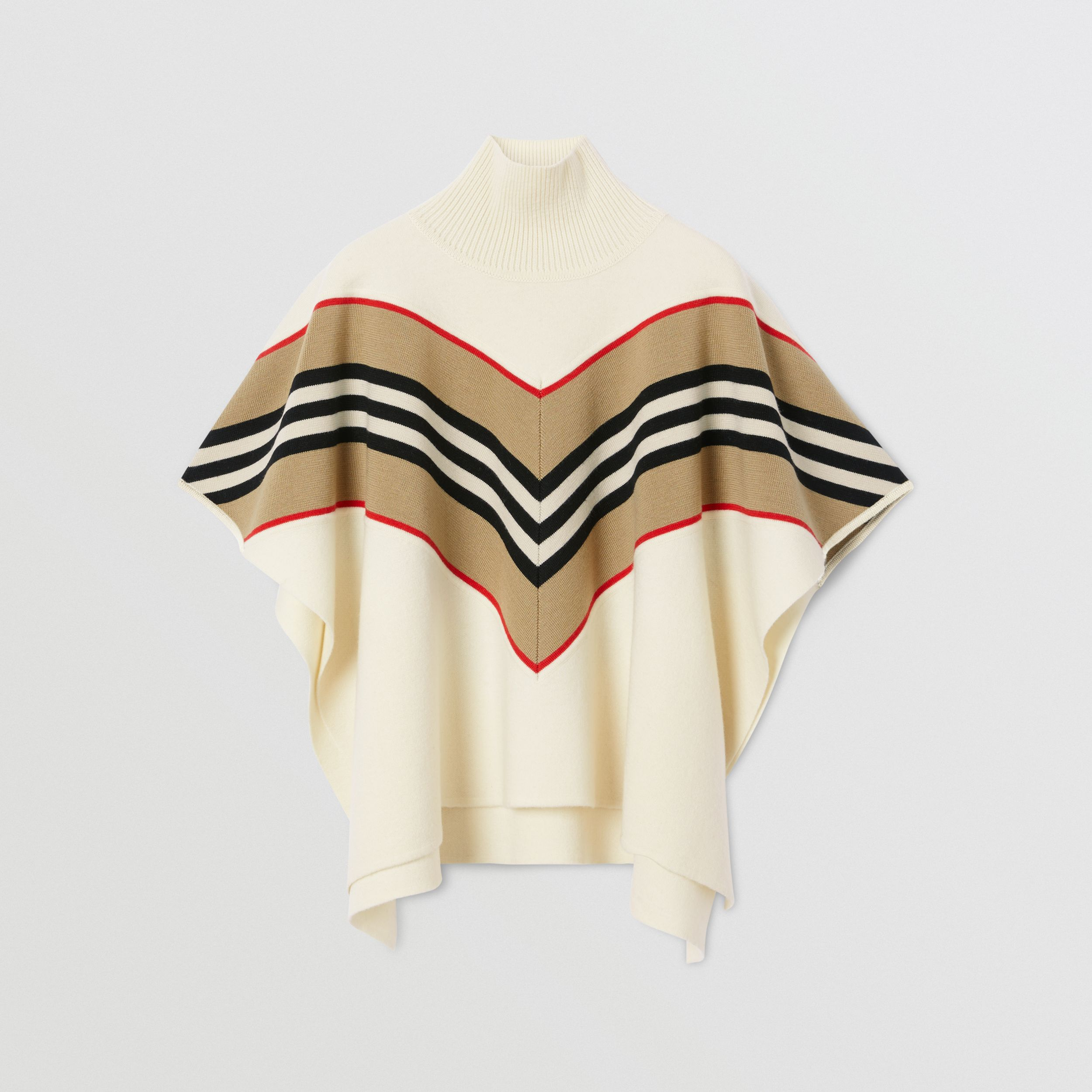 Icon Stripe Panel Wool Cashmere Blend Poncho | Burberry - 1