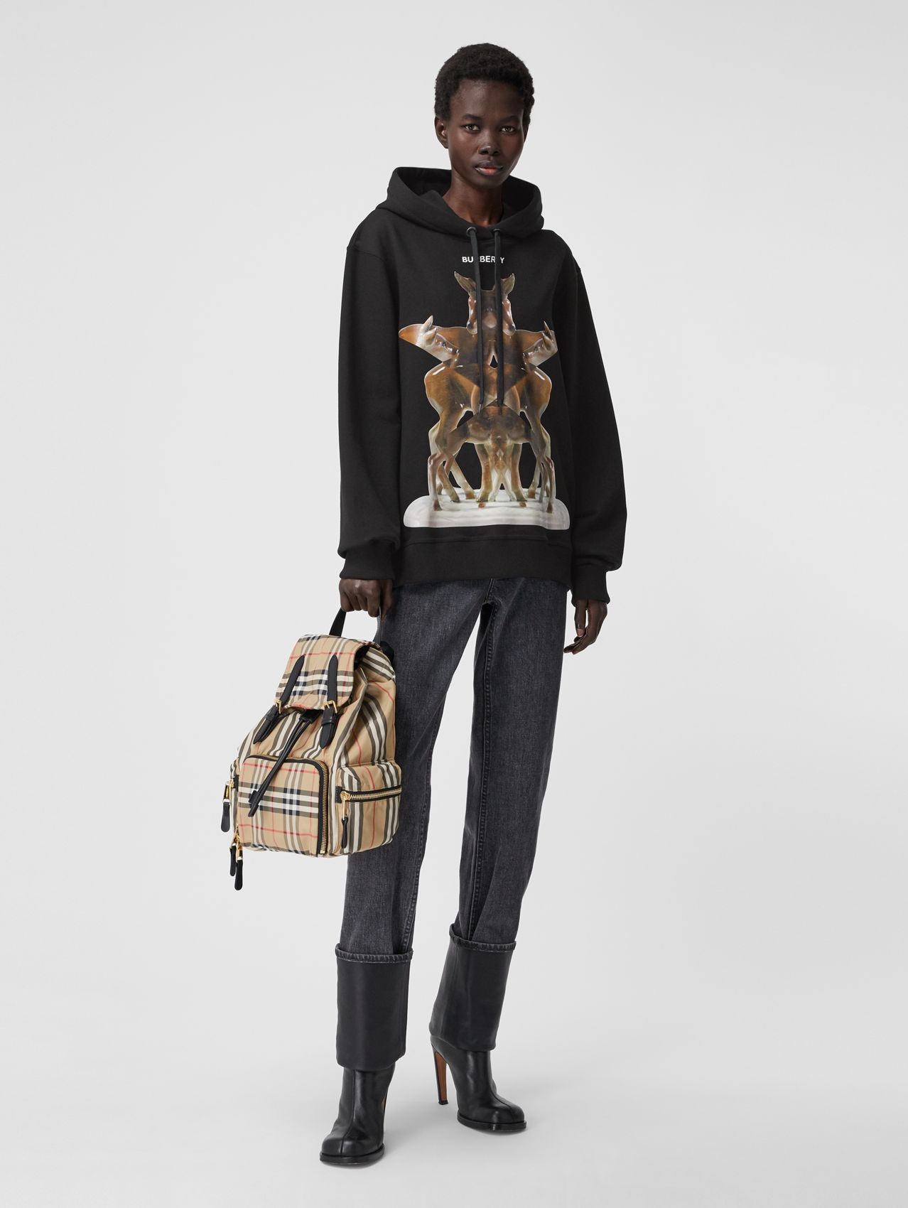 Kaleidoscope Print Oversized Hoodie – Online Exclusive in Black