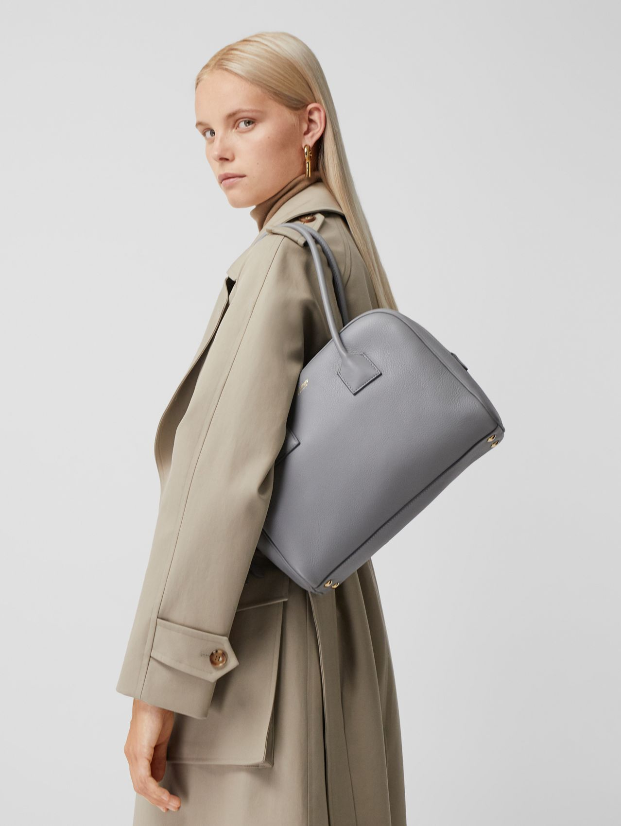 Medium Leather Half Cube Bag in Cloud Grey
