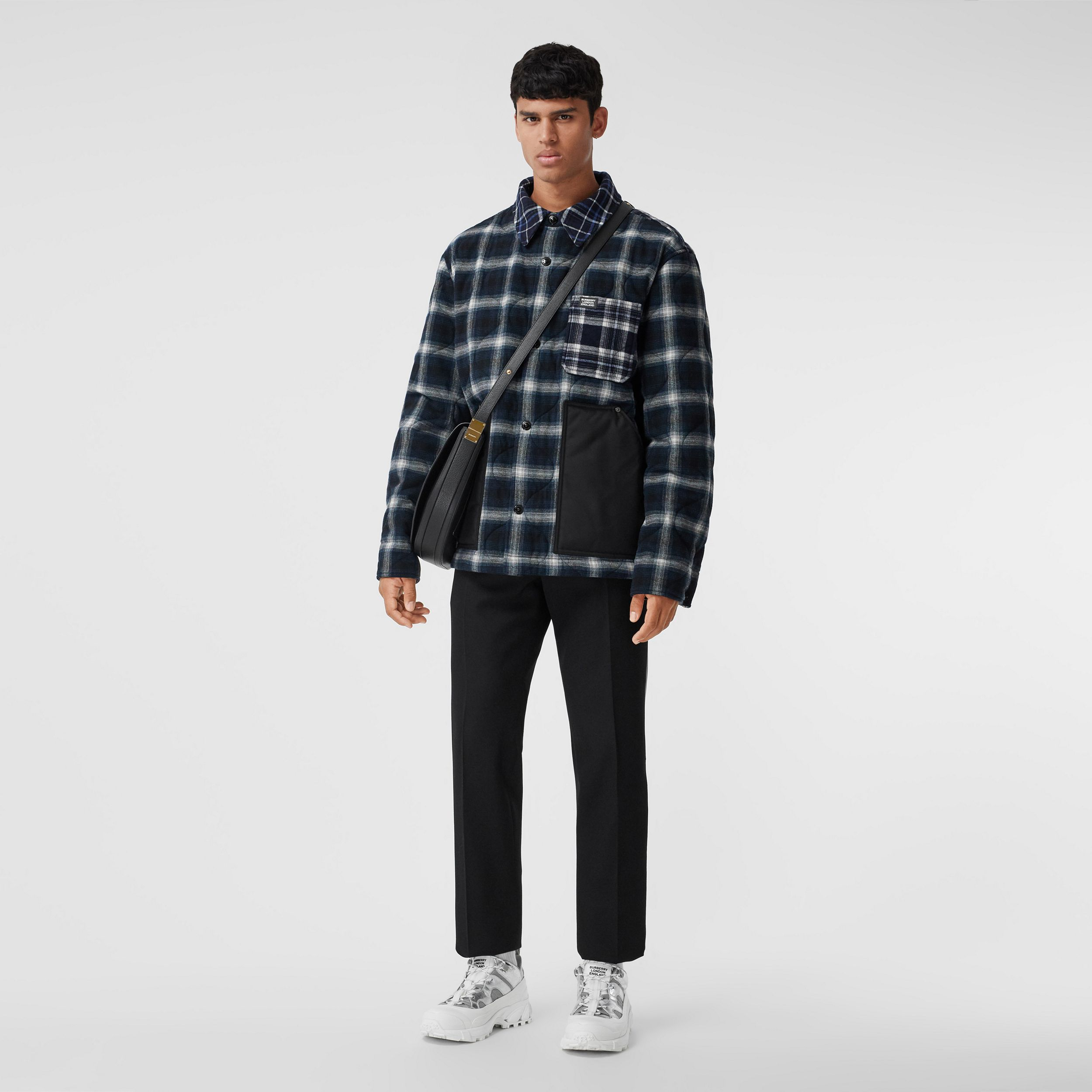 Contrast Pocket Check Wool Cotton Overshirt in Black - Men | Burberry United States - 1