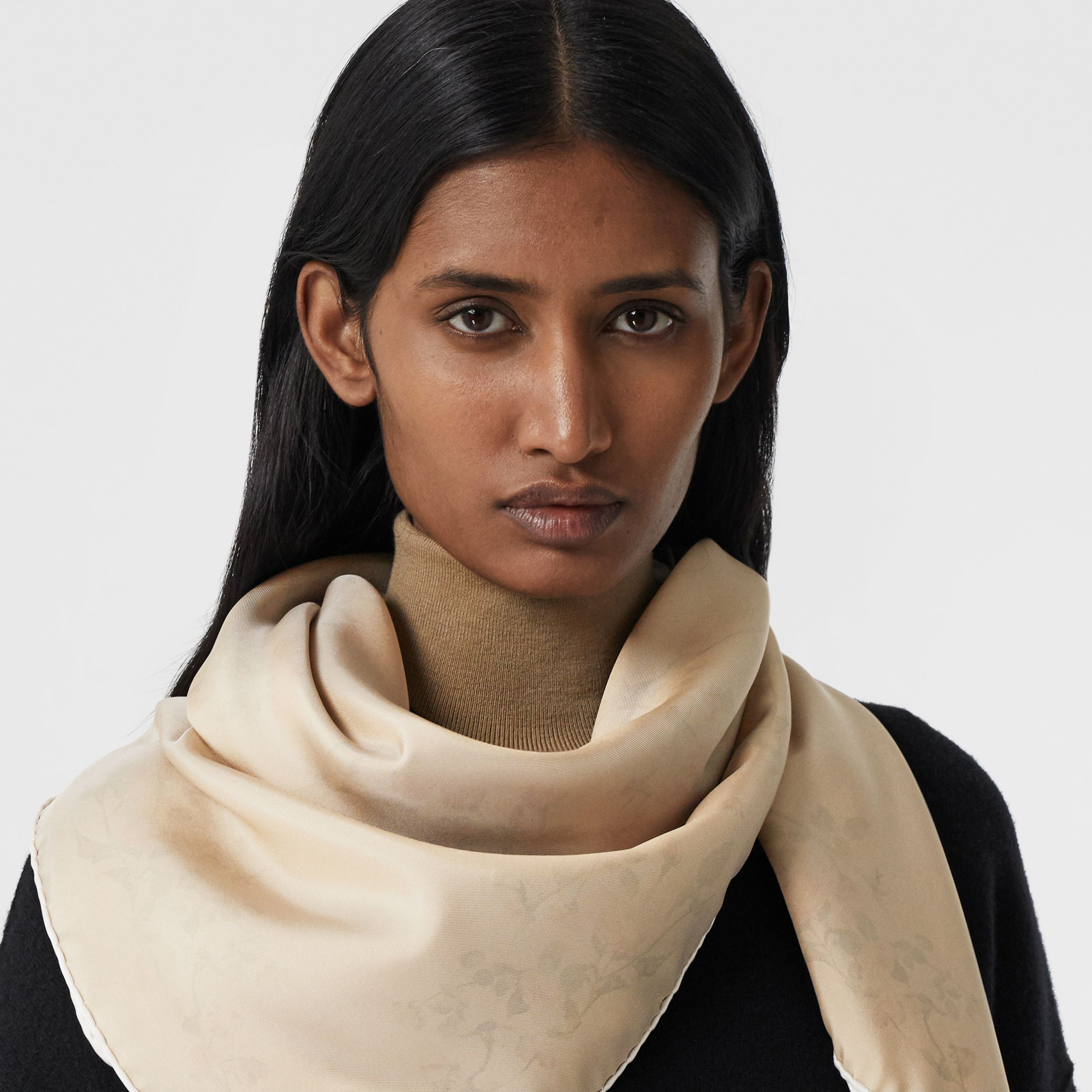 Rose Print Silk Square Scarf in White | Burberry - 3