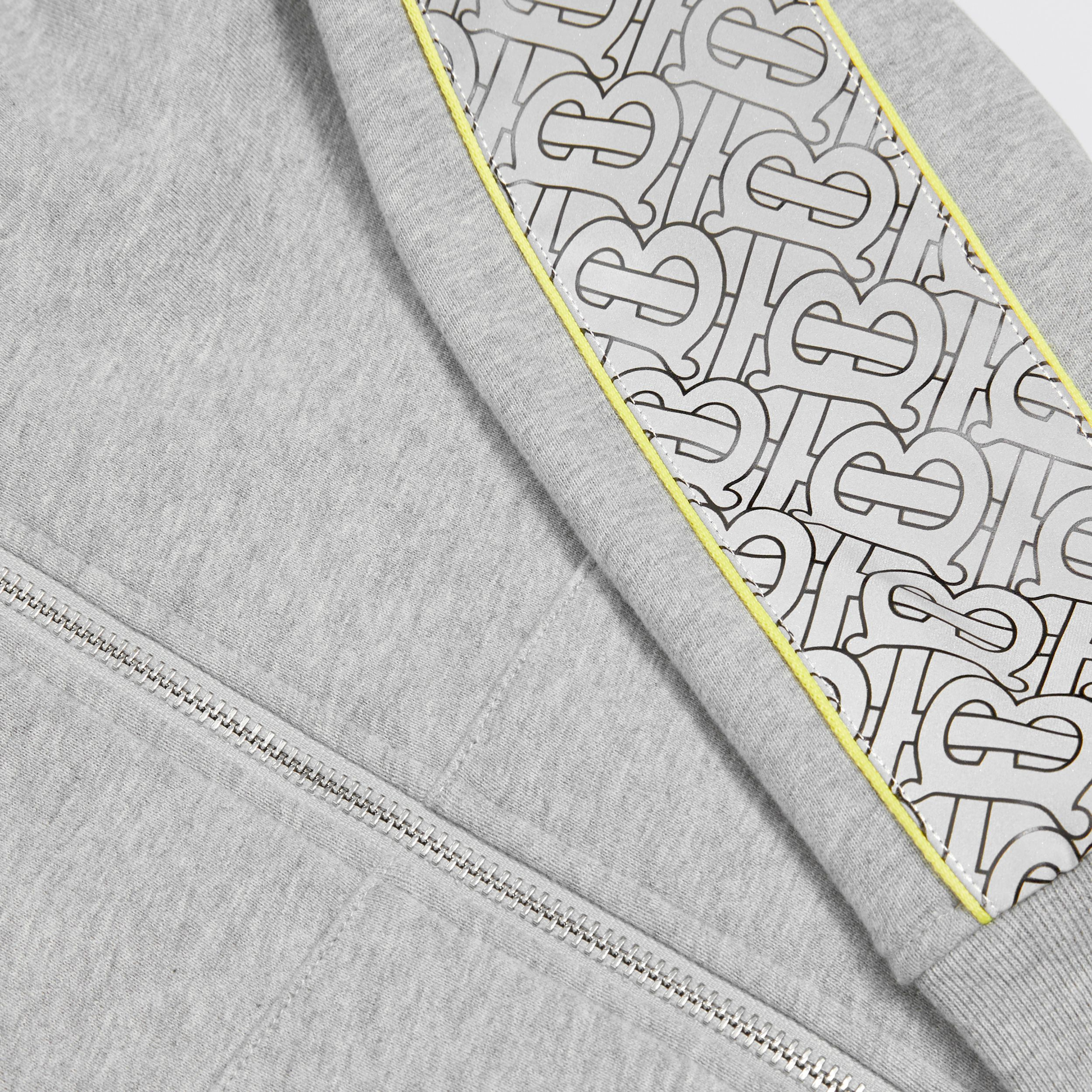 Monogram Print Panel Cotton Hooded Top in Grey Melange | Burberry - 2