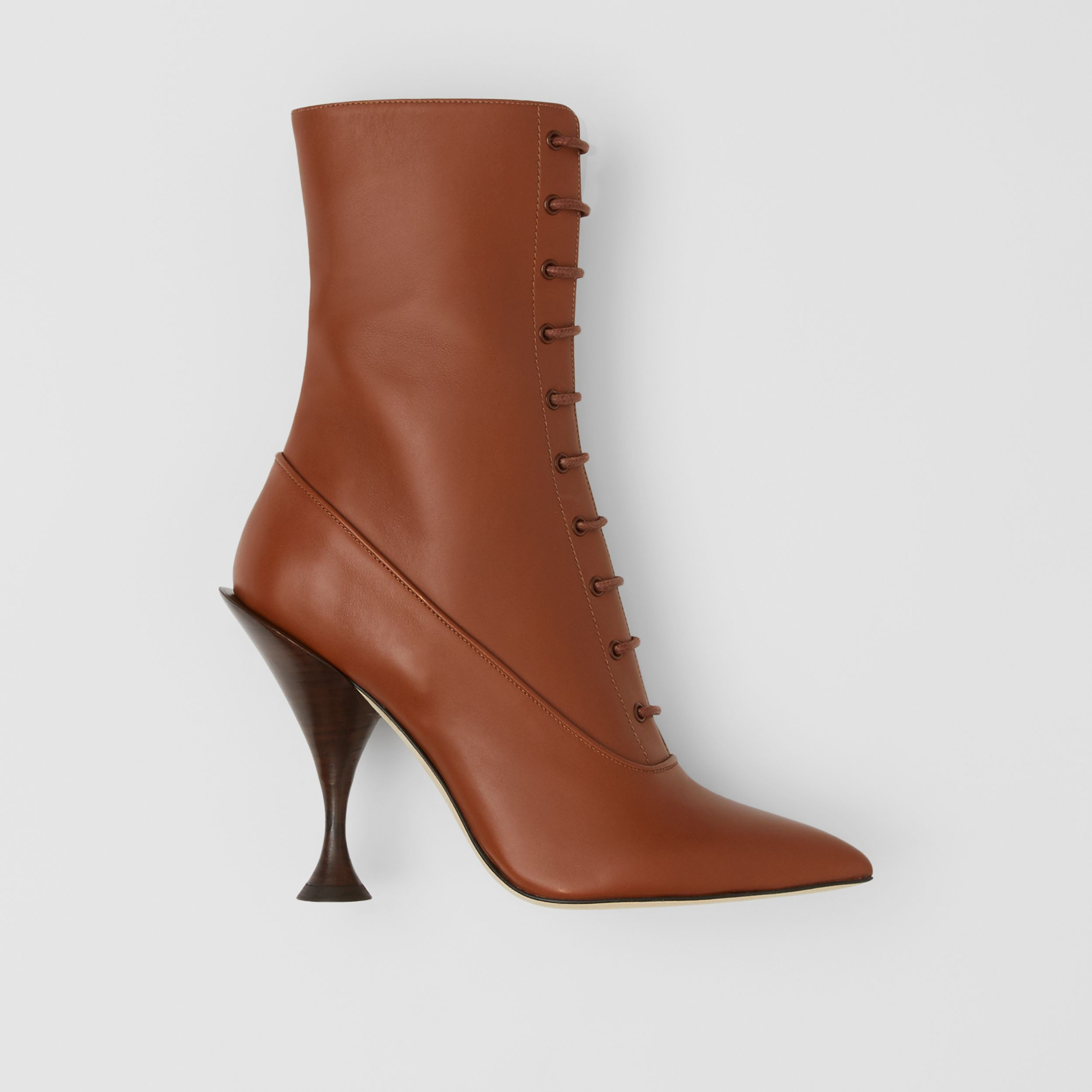 Lambskin Lace-up Ankle Boots in Tan - Women | Burberry - 1
