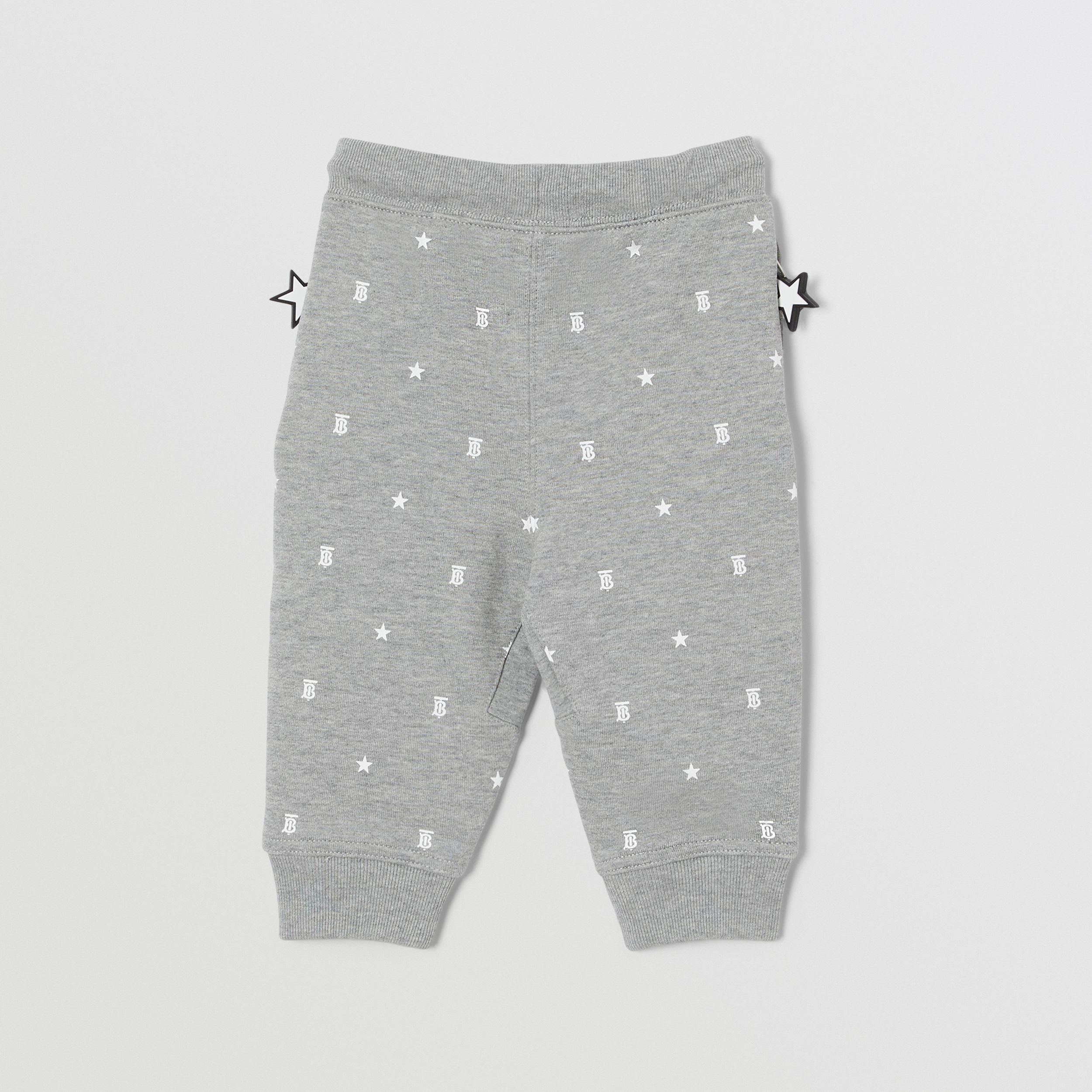 Star and Monogram Motif Cotton Jogging Pants in Grey - Children | Burberry - 4