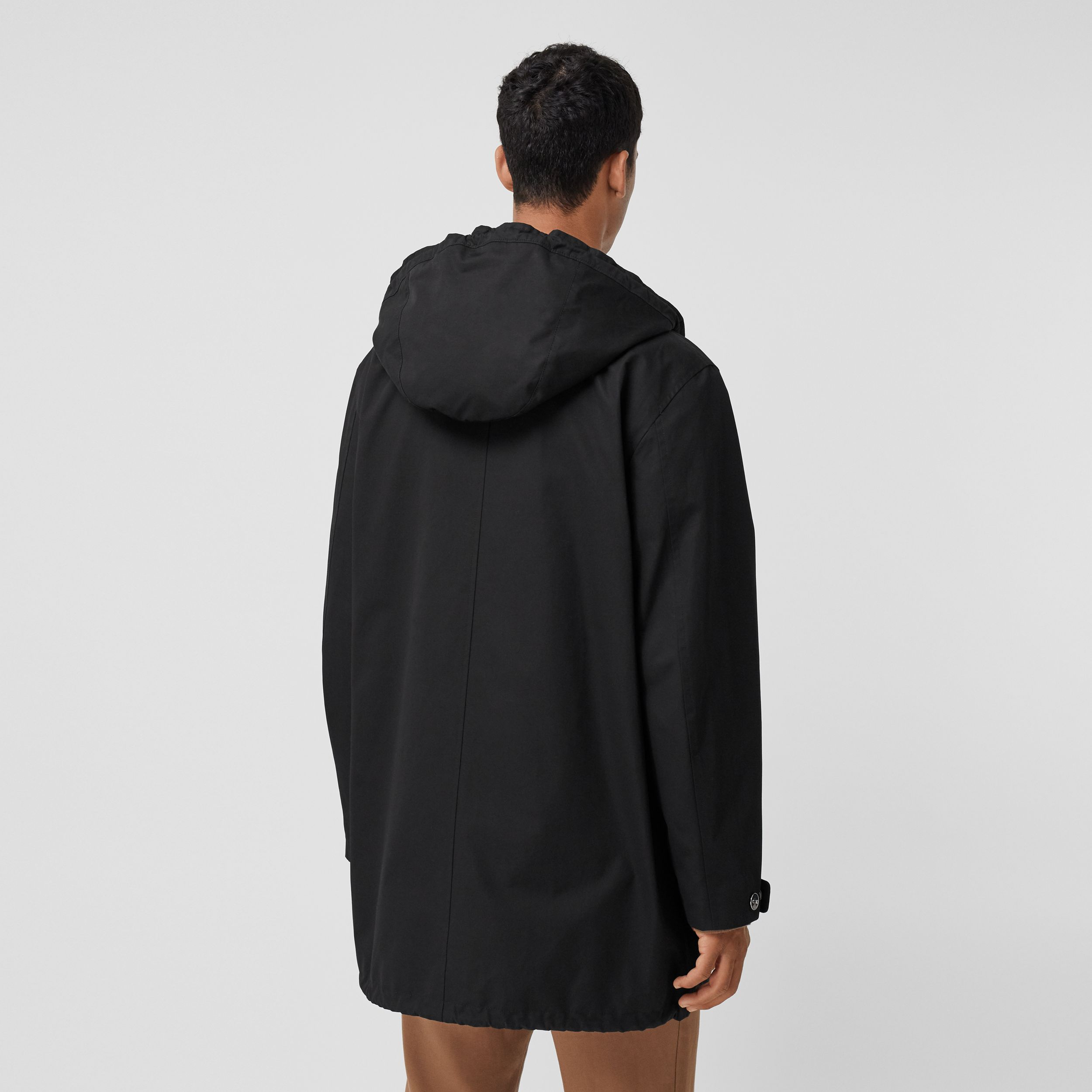 Logo Appliqué Cotton Hooded Coat in Black - Men | Burberry - 3