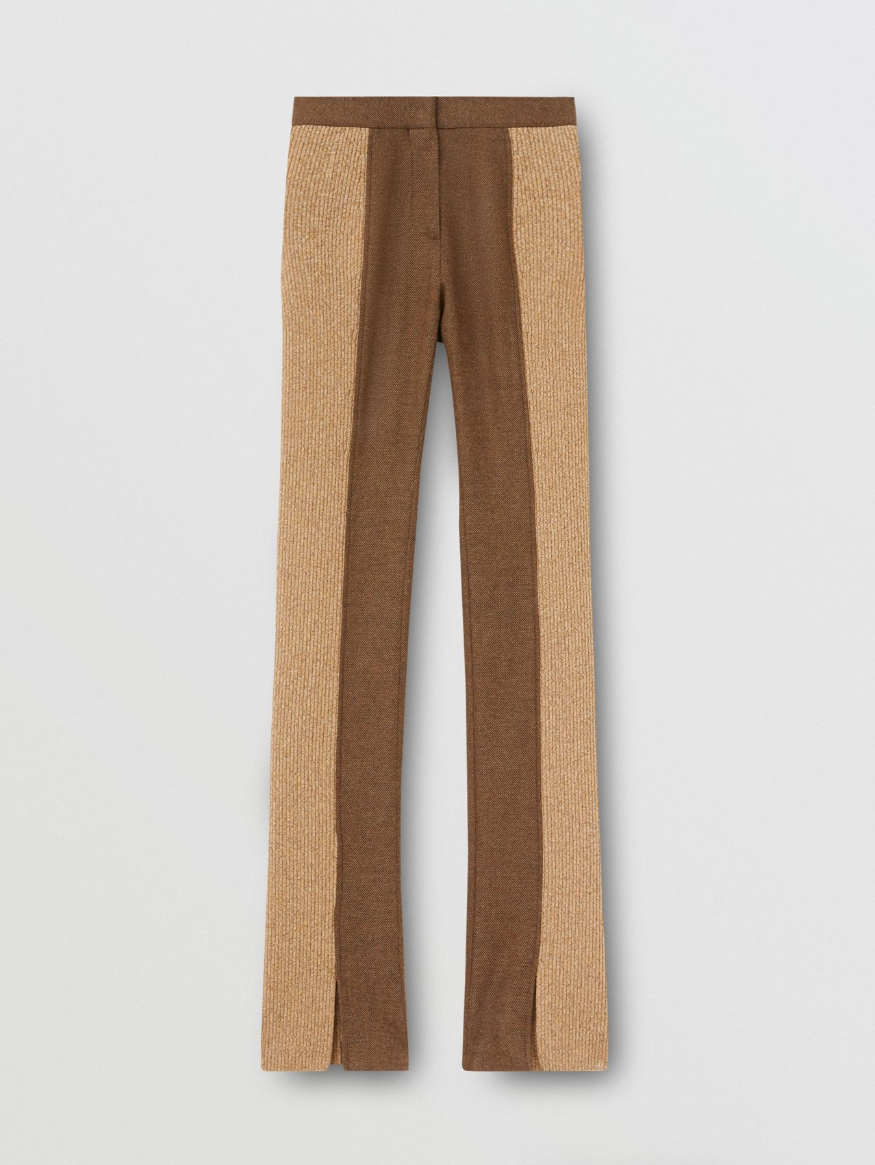 Rib Kit Panel Wool Cashmere Tailored Trousers in Dark Tan
