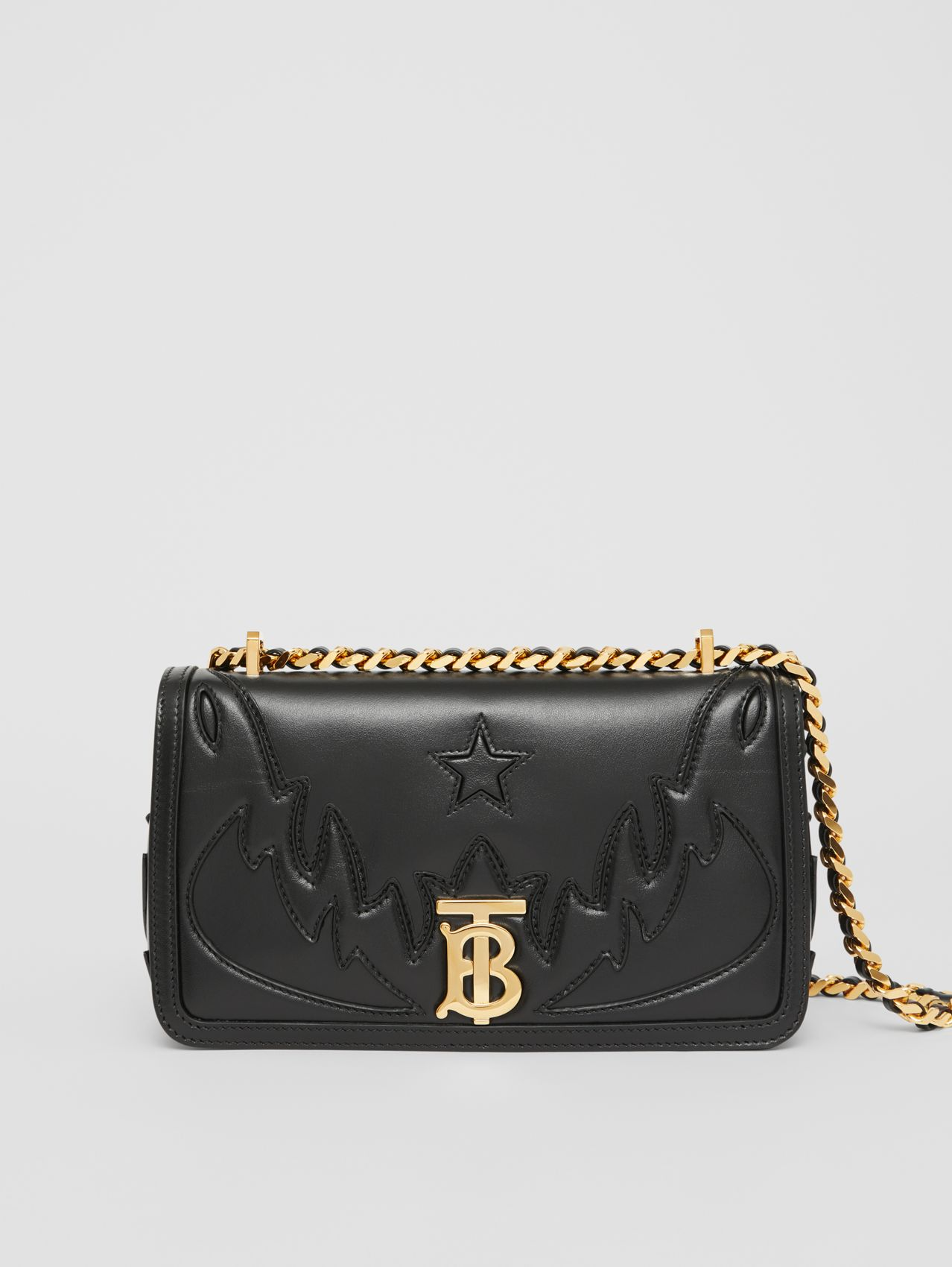 Small Topstitch Appliqué Leather Lola Bag in Black