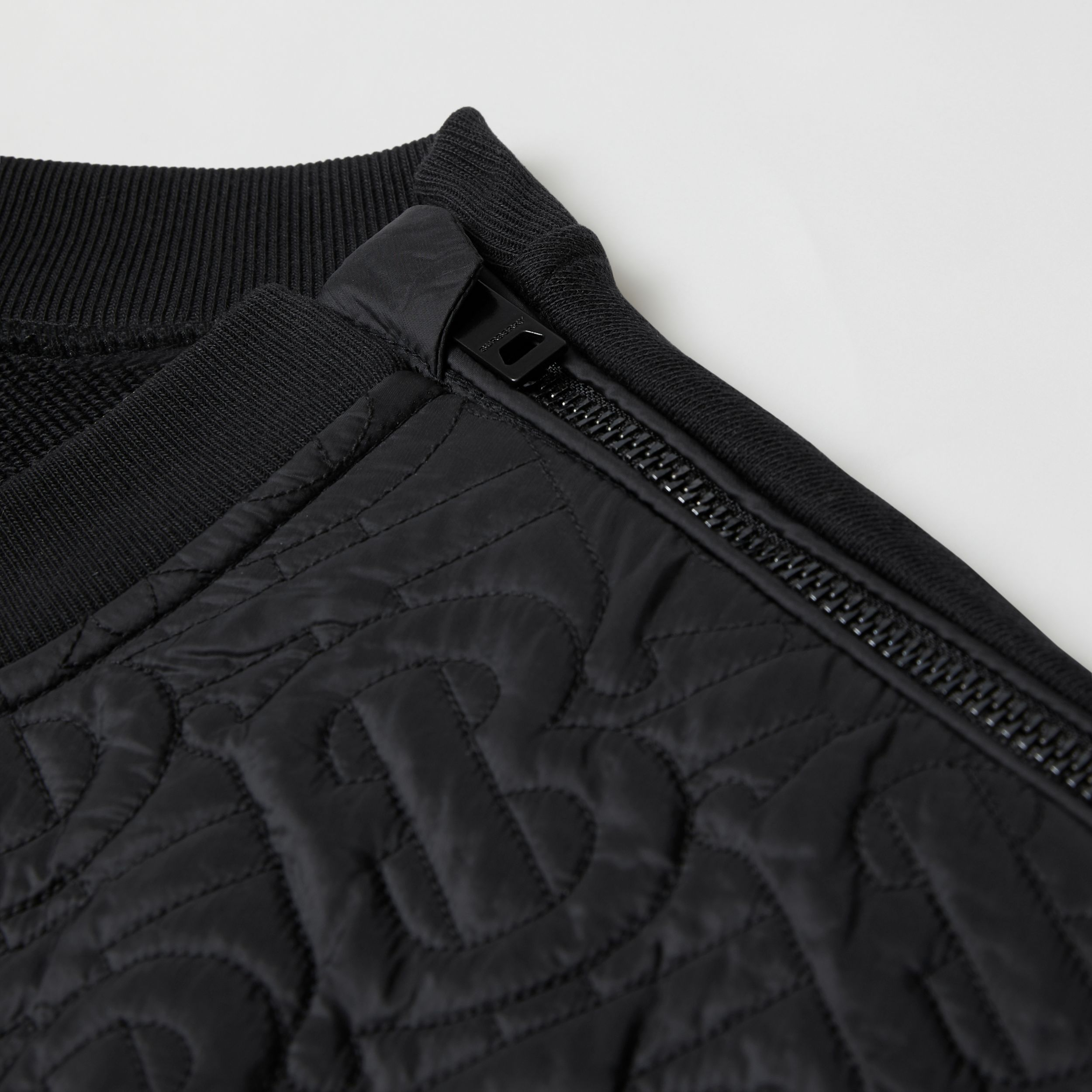Monogram Quilted Panel Cotton Sweatshirt in Black | Burberry Australia - 2