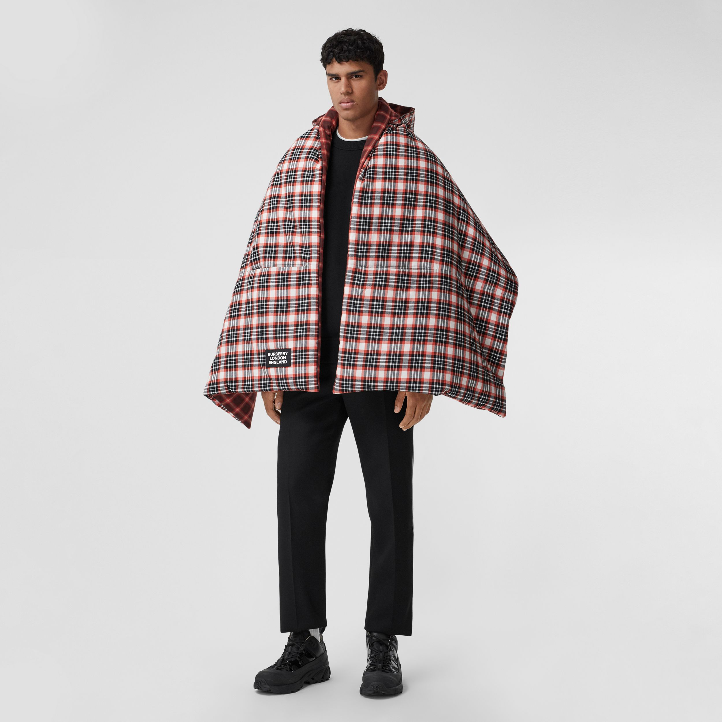 Reversible Tartan Cotton Puffer Poncho in Bright Red | Burberry - 1