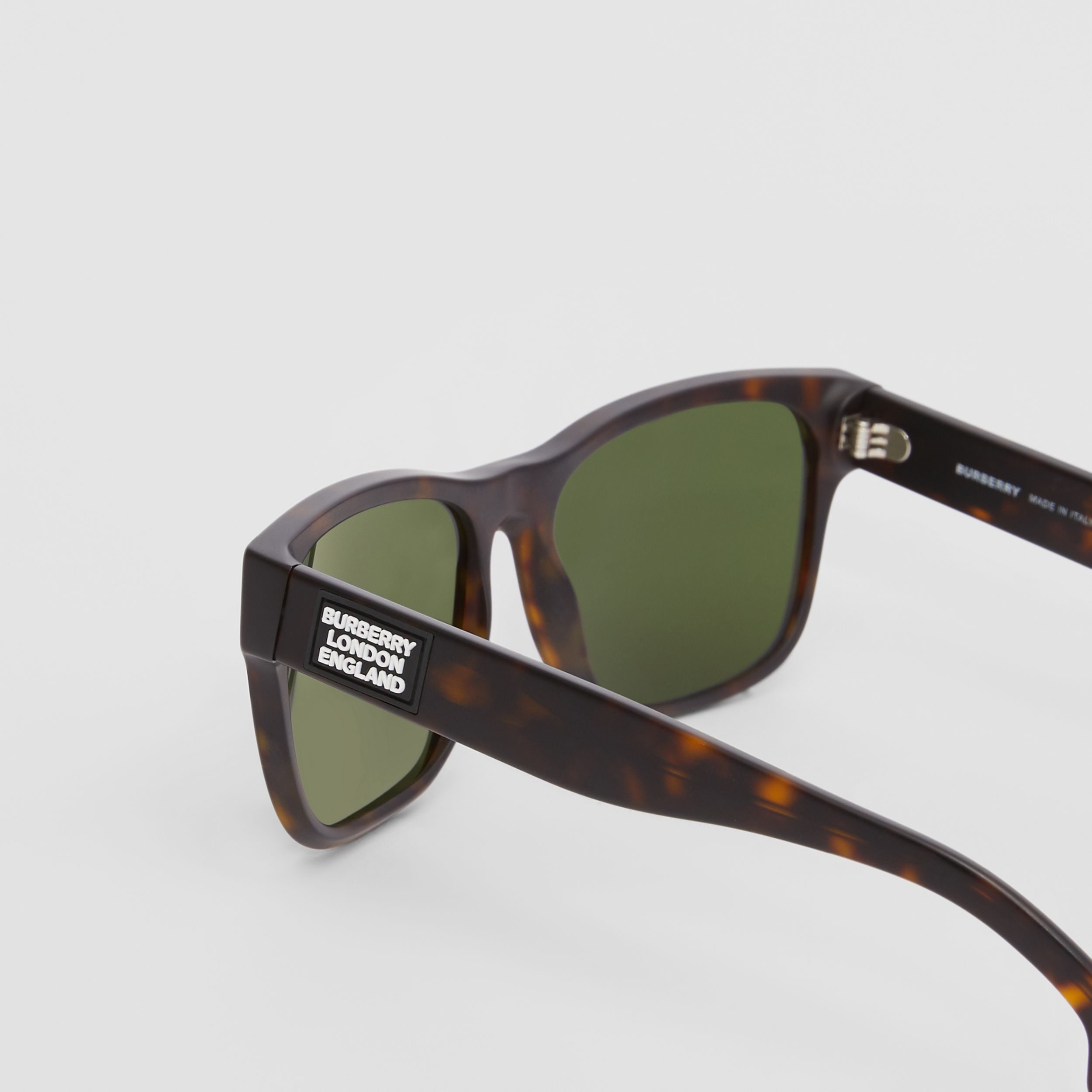 Logo Appliqué Square Frame Sunglasses in Tortoiseshell - Men | Burberry - 2