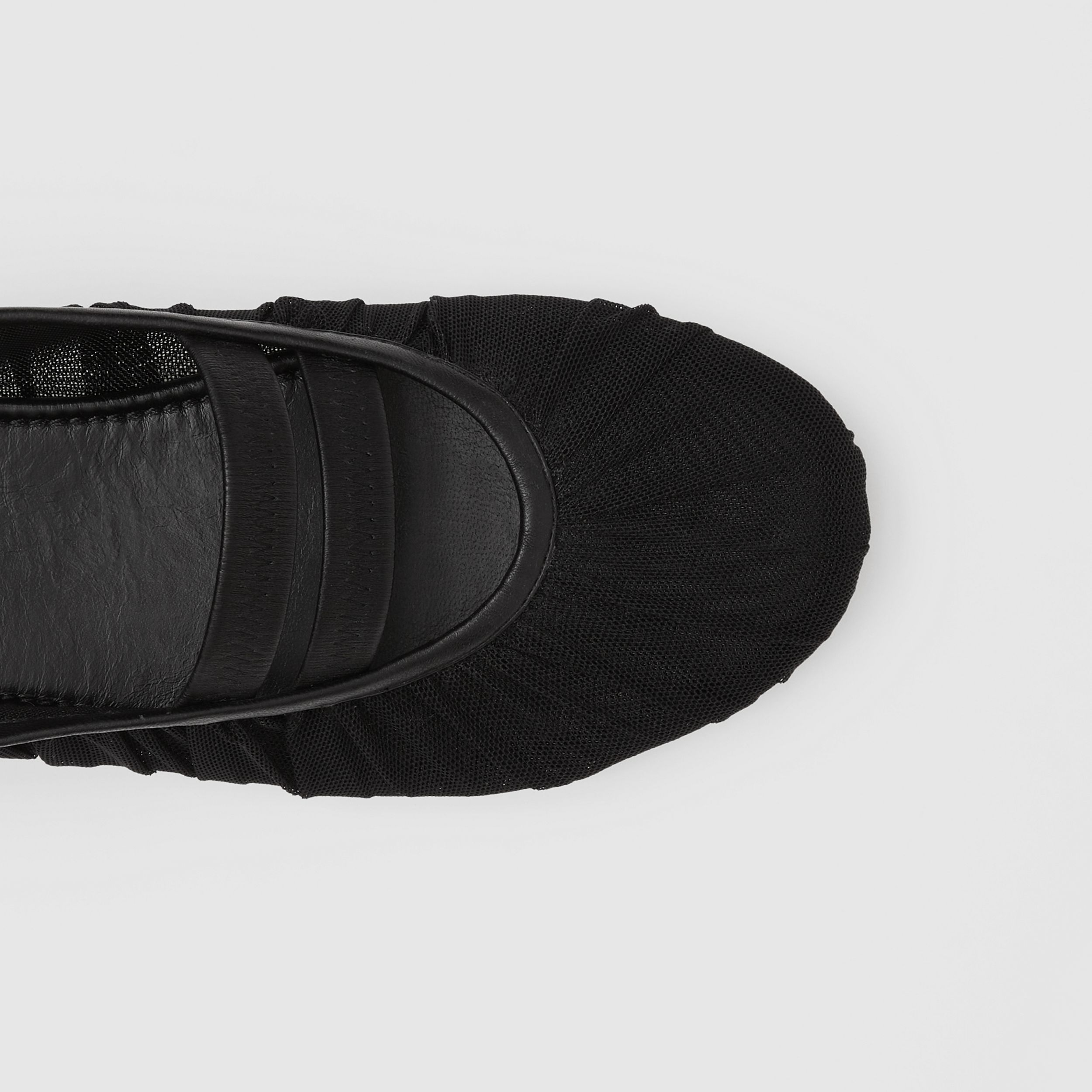 Logo Detail Tulle and Lambskin Ballerinas in Black - Women | Burberry United States - 2