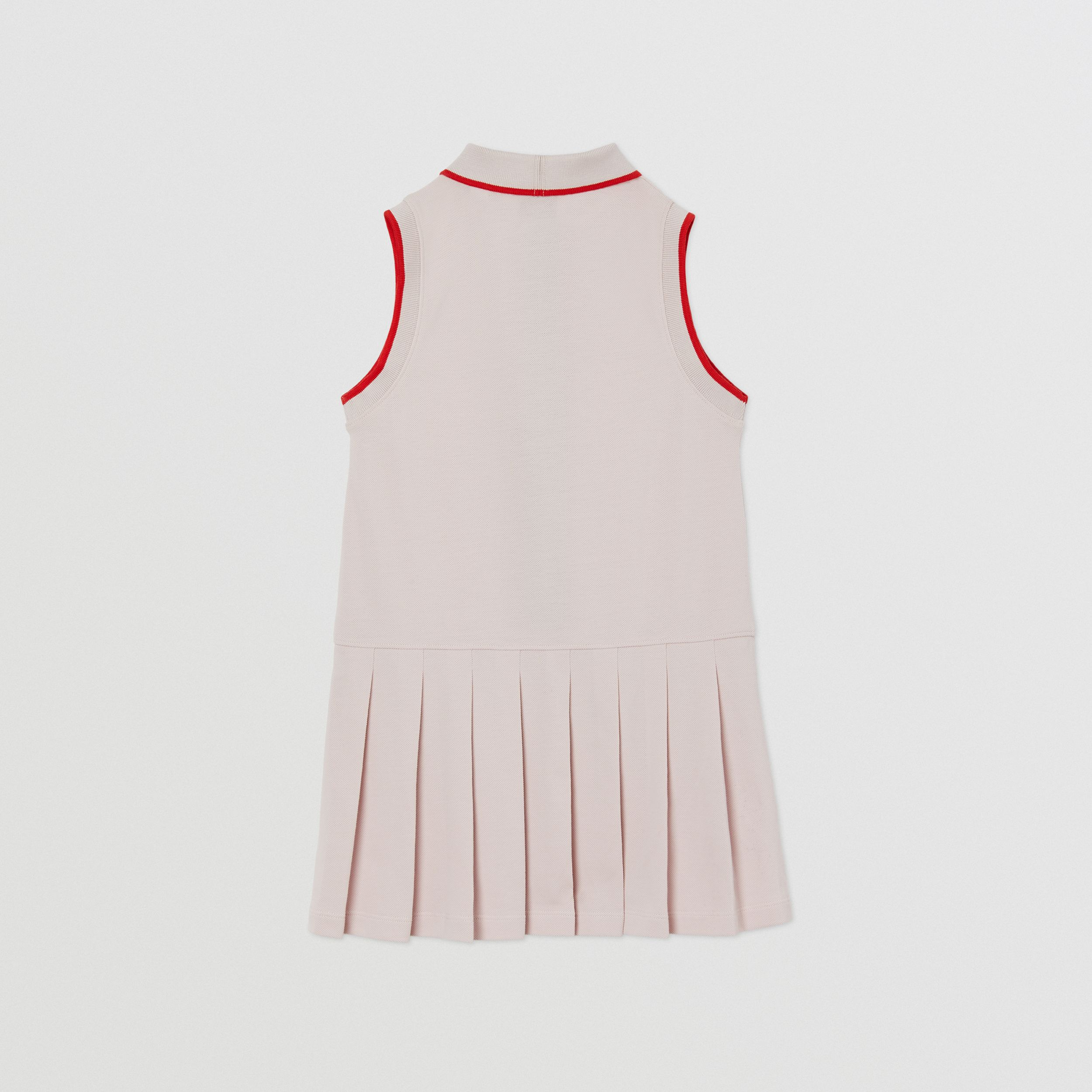 Icon Stripe Detail Cotton Sleeveless Polo Shirt Dress in Pastel Pink | Burberry - 4