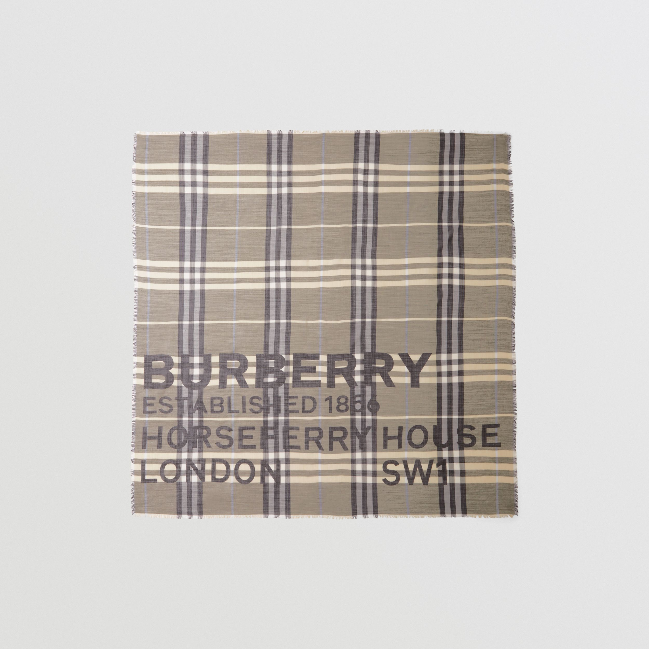 Horseferry Print Check Wool Silk Large Square Scarf in Dusty Sand | Burberry - 1