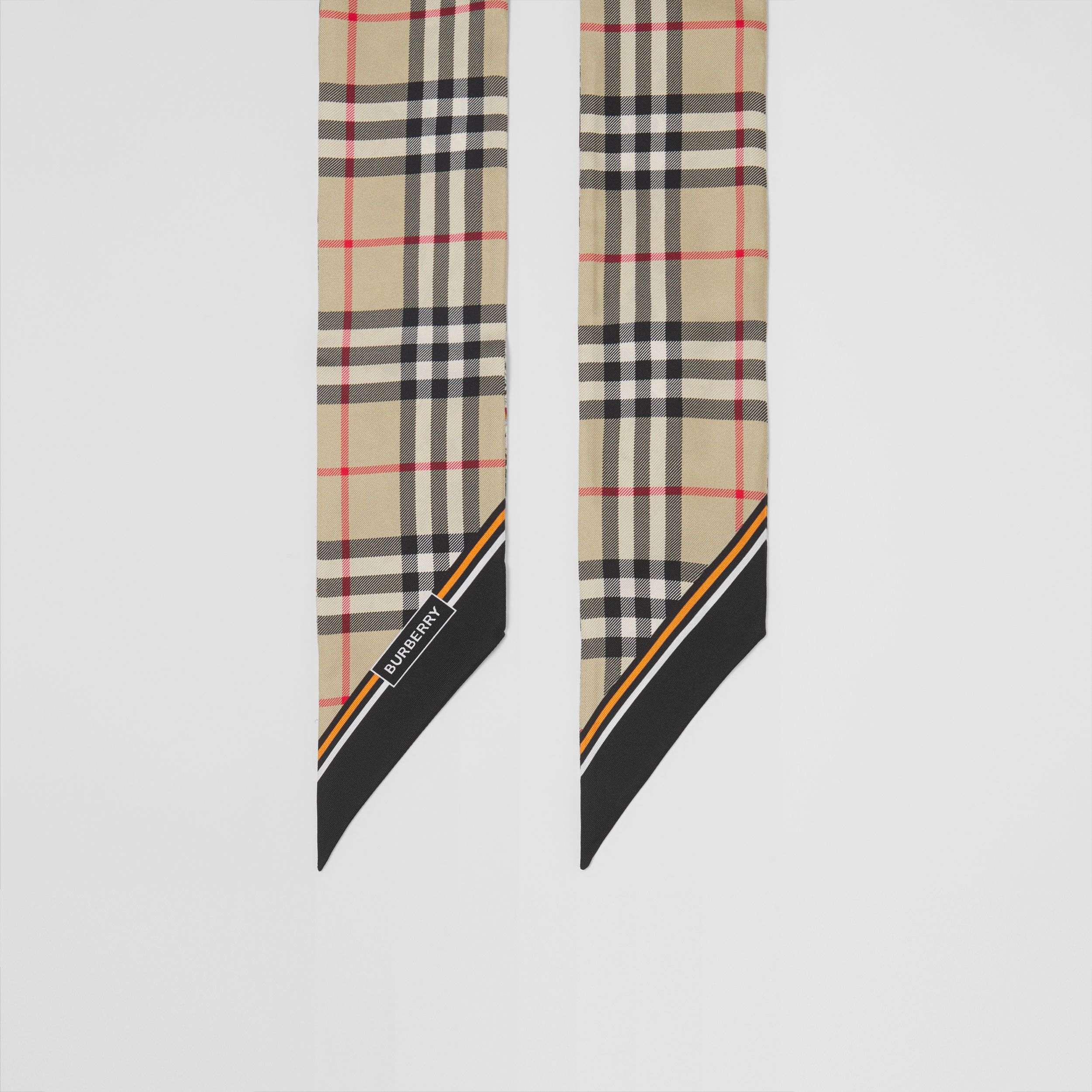 Vintage Check and Floral Print Silk Skinny Scarf in Beige - Women | Burberry United States - 3